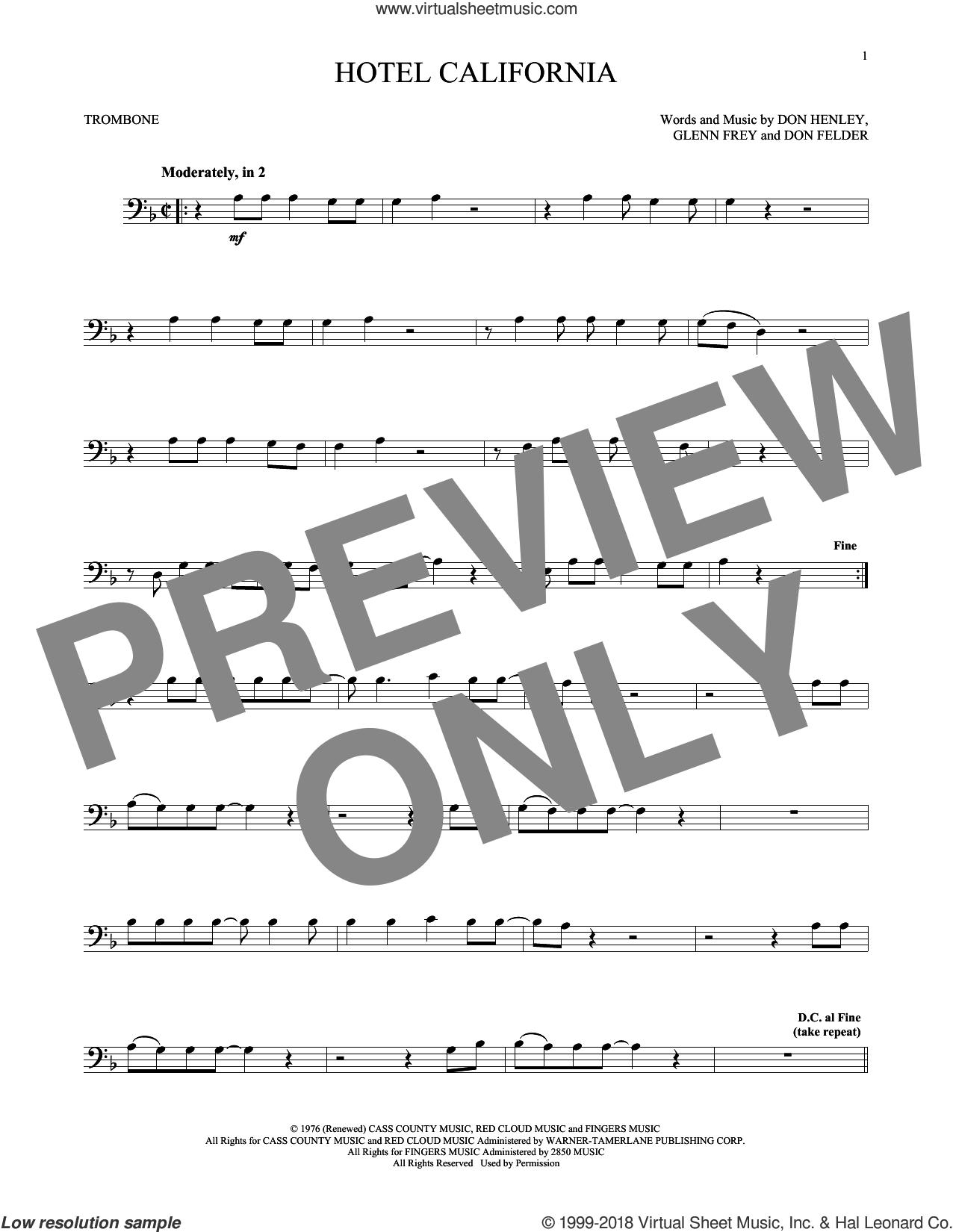 Hotel California sheet music for trombone solo by Don Henley, The Eagles, Don Felder and Glenn Frey, intermediate skill level