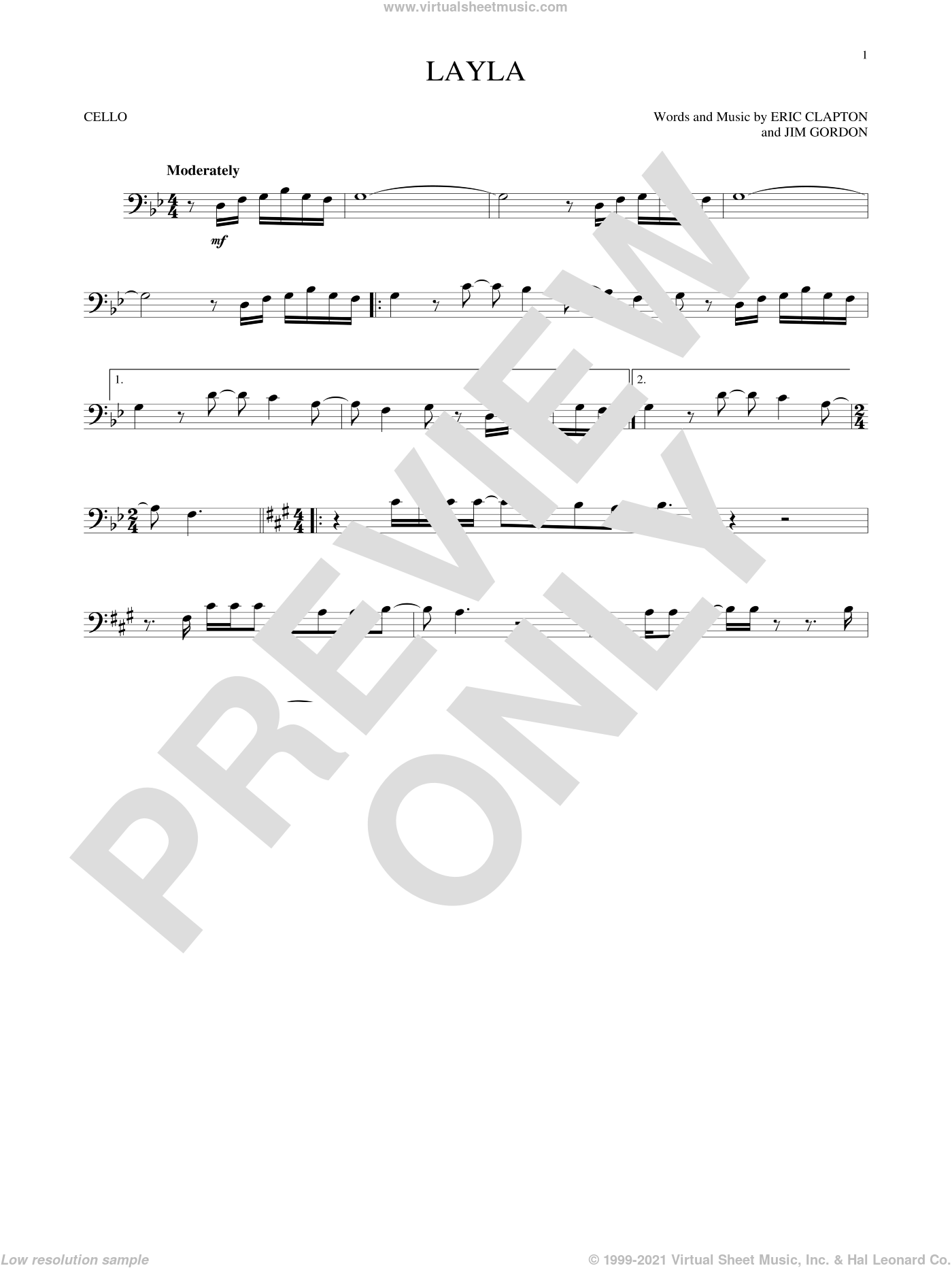 Layla sheet music for cello solo by Eric Clapton, Derek And The Dominos and Jim Gordon, intermediate skill level