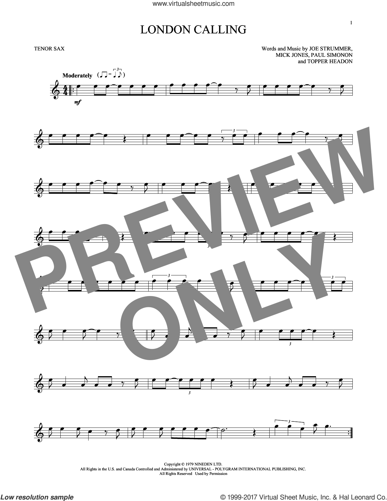 London Calling sheet music for tenor saxophone solo by The Clash, Joe Strummer, Mick Jones, Paul Simonon and Topper Headon, intermediate skill level