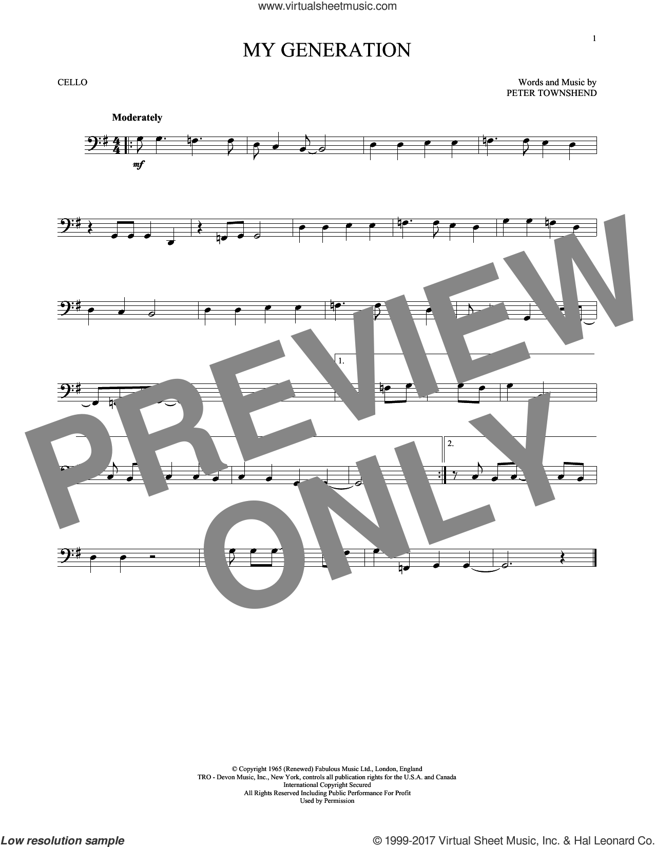 My Generation sheet music for cello solo by The Who and Pete Townshend, intermediate skill level
