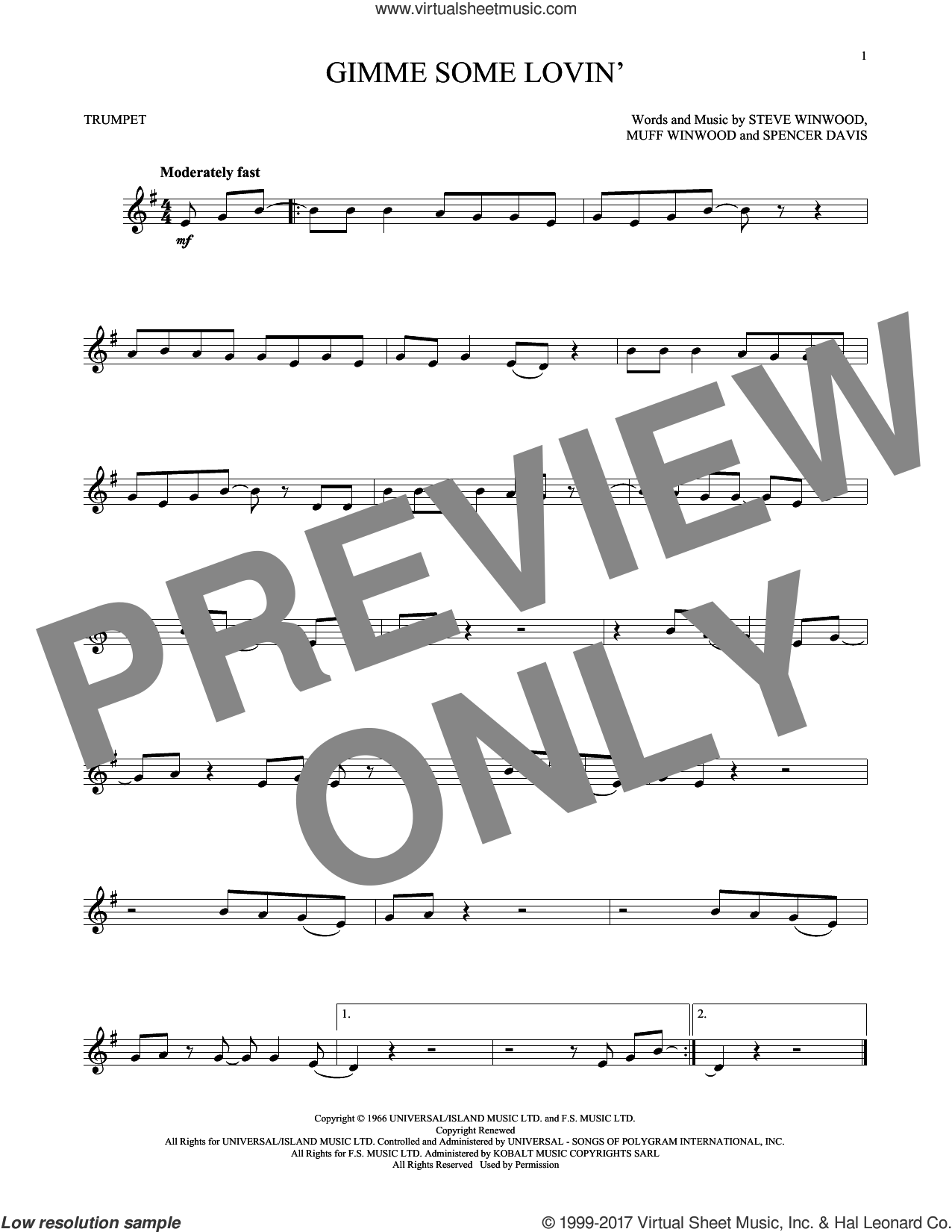 Gimme Some Lovin' sheet music for trumpet solo by The Spencer Davis Group, Muff Winwood, Spencer Davis and Steve Winwood, intermediate skill level