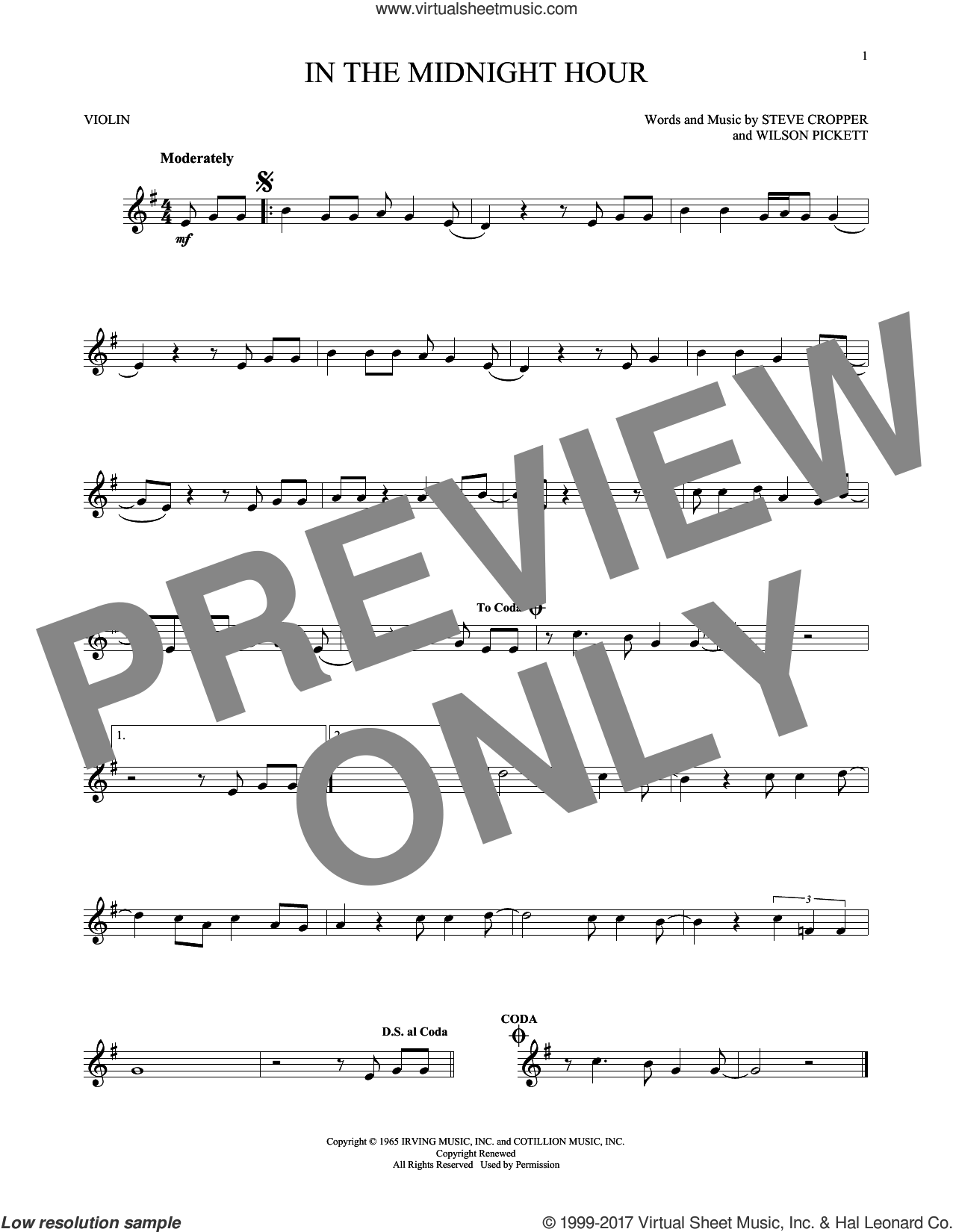 In The Midnight Hour sheet music for violin solo by Wilson Pickett and Steve Cropper, intermediate skill level
