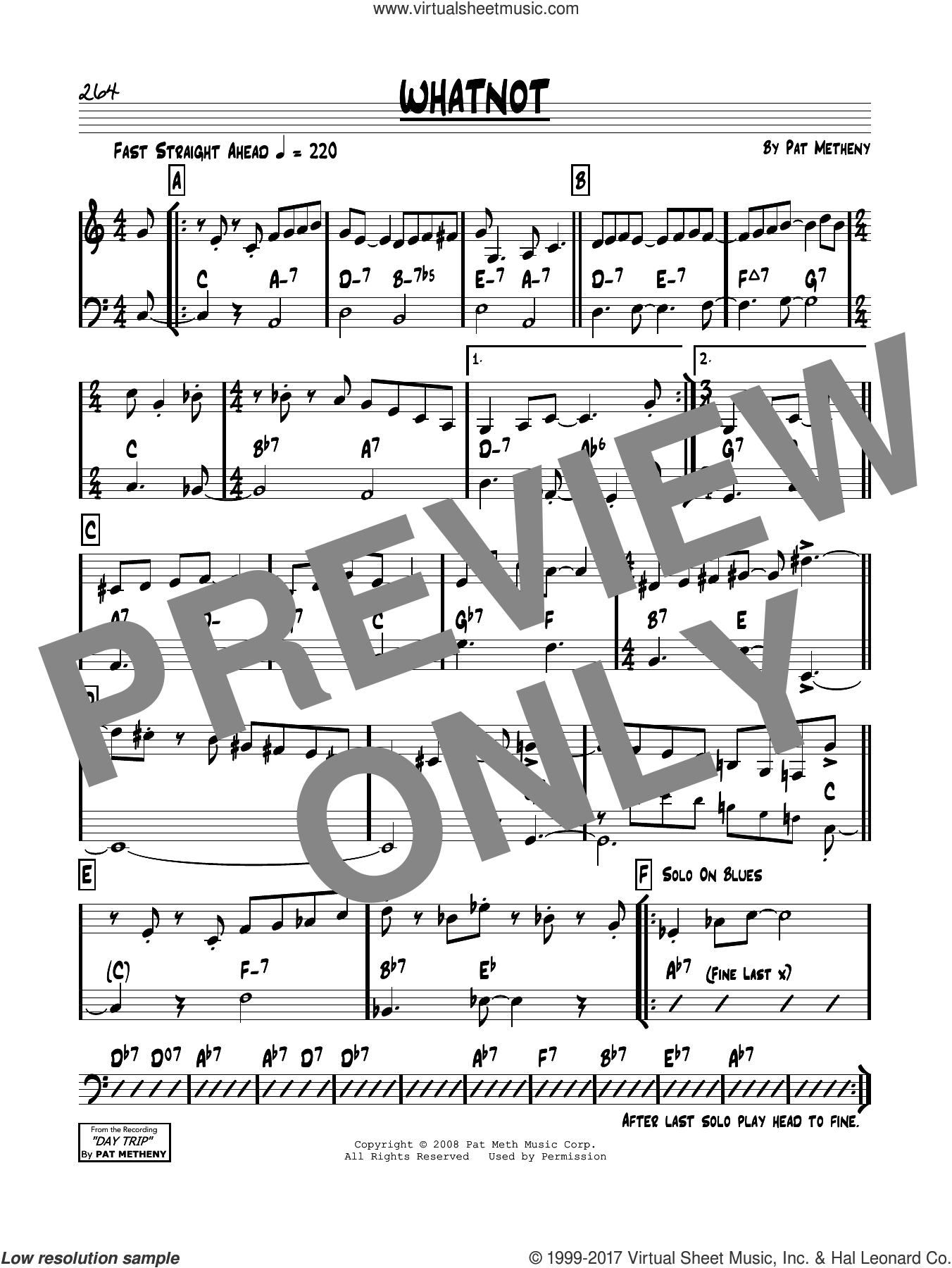 Whatnot sheet music for voice and other instruments (real book) by Pat Metheny, intermediate skill level