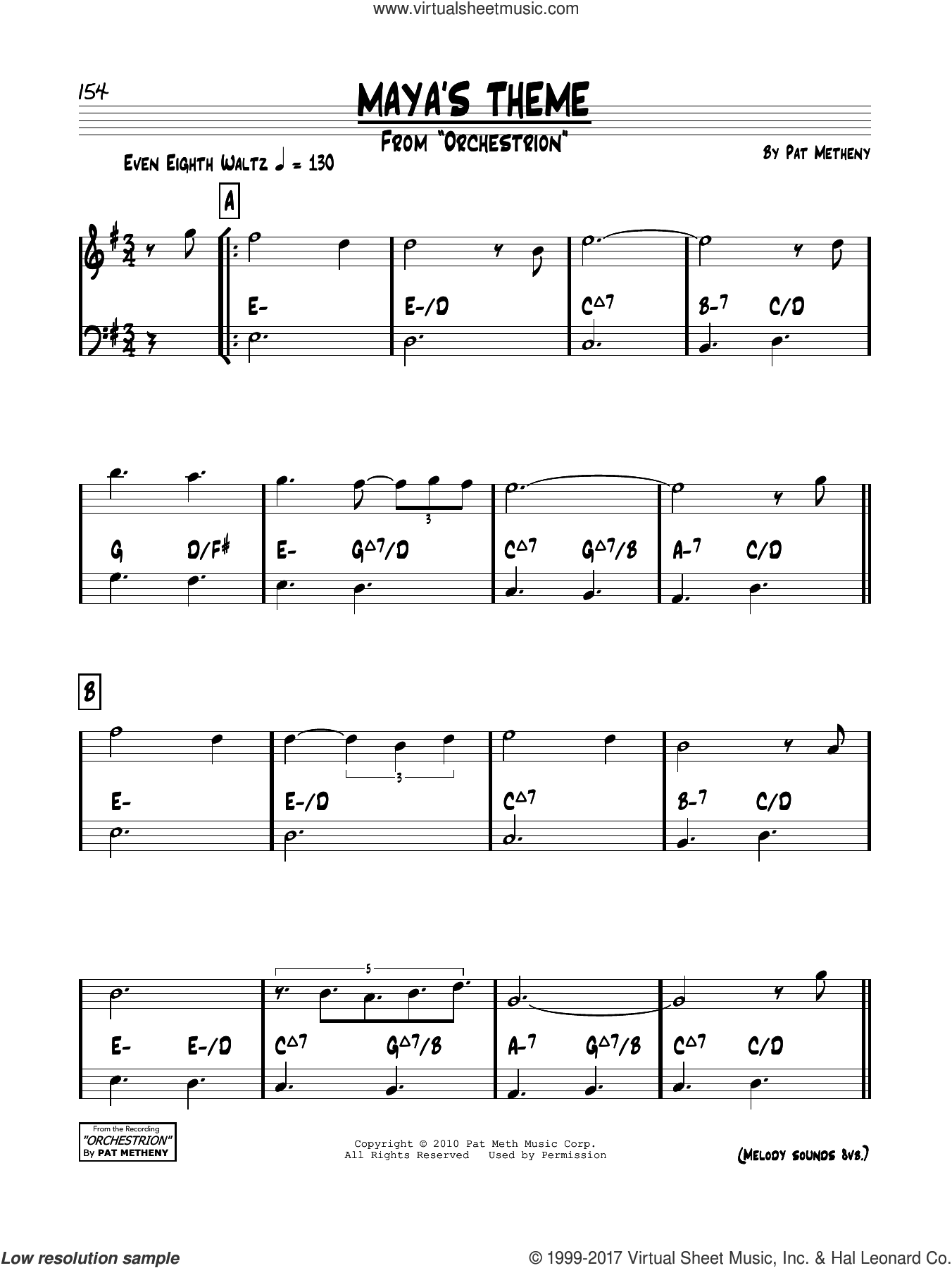 Maya's Theme sheet music for voice and other instruments (real book) by Pat Metheny, intermediate skill level