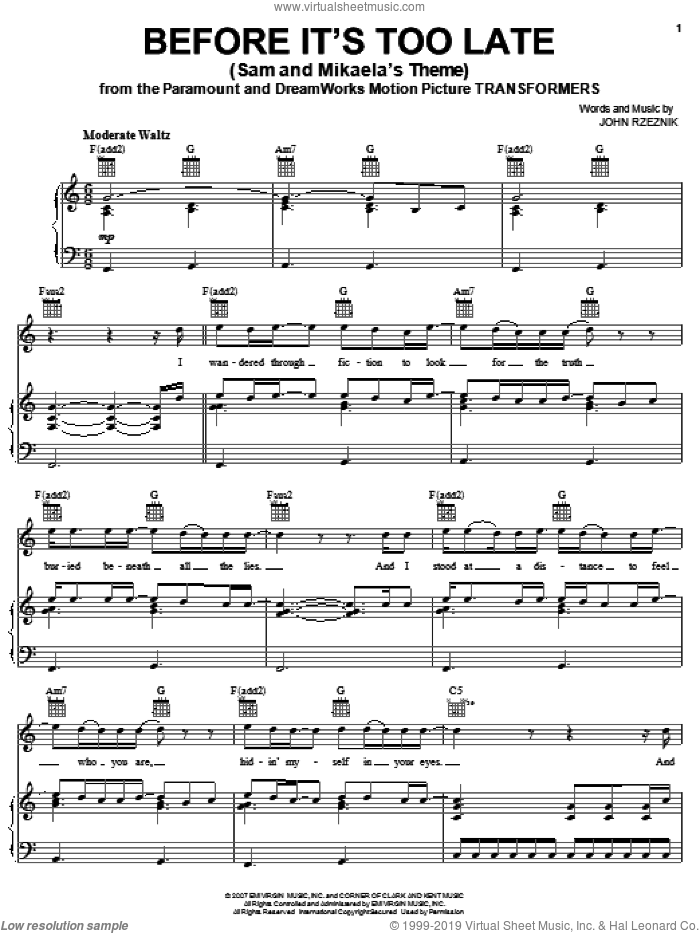 Before It's Too Late (Sam And Mikaela's Theme) sheet music for voice, piano or guitar by Goo Goo Dolls and John Rzeznik. Score Image Preview.