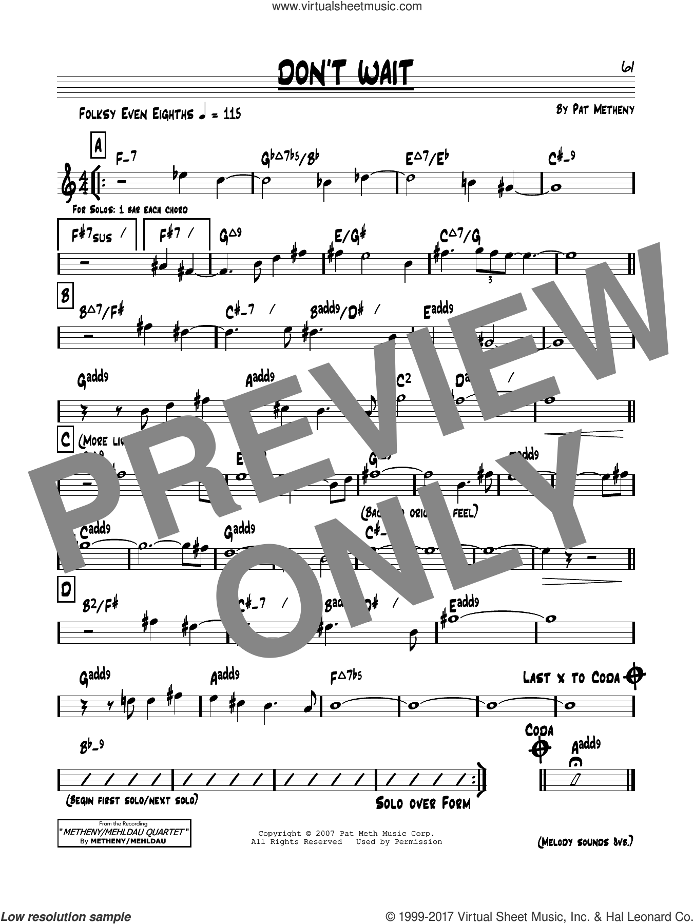 Don't Wait sheet music for voice and other instruments (real book) by Pat Metheny, intermediate skill level