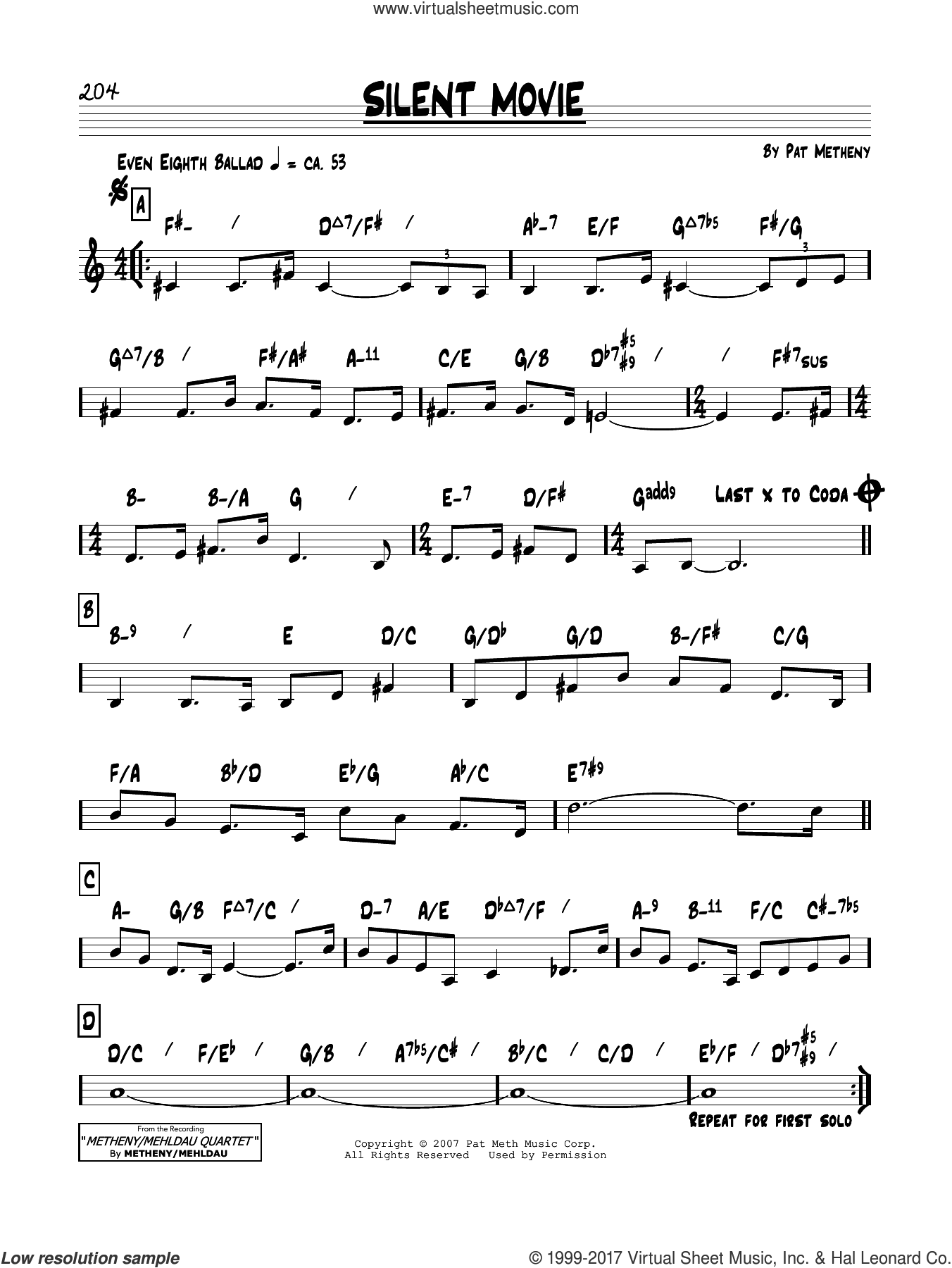 Silent Movie sheet music for voice and other instruments (real book) by Pat Metheny, intermediate skill level