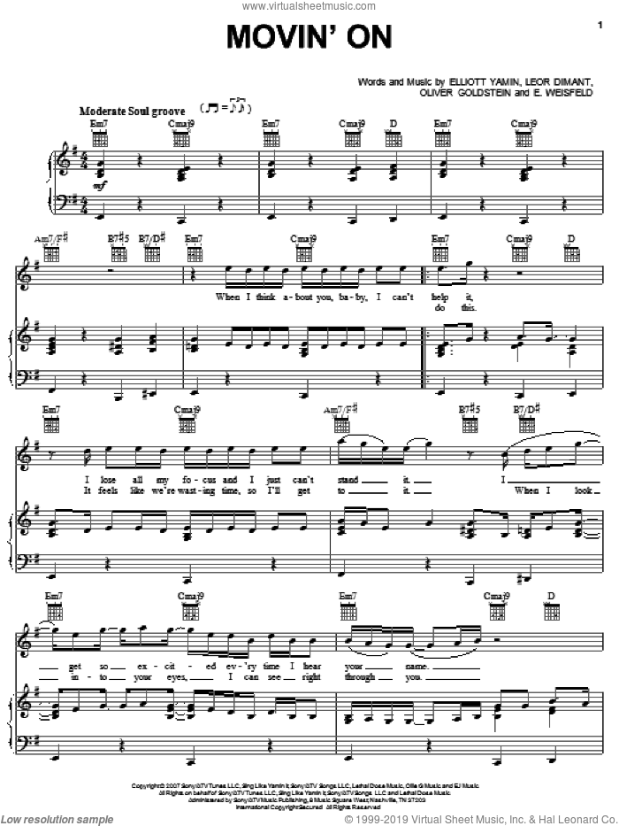 Movin' On sheet music for voice, piano or guitar by Elliott Yamin, E. Weisfeld, Leor Dimant and Oliver Goldstein, intermediate
