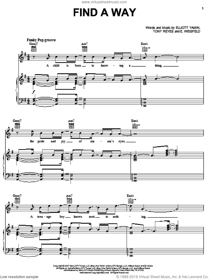Find A Way sheet music for voice, piano or guitar by Tony Reyes and Elliott Yamin. Score Image Preview.