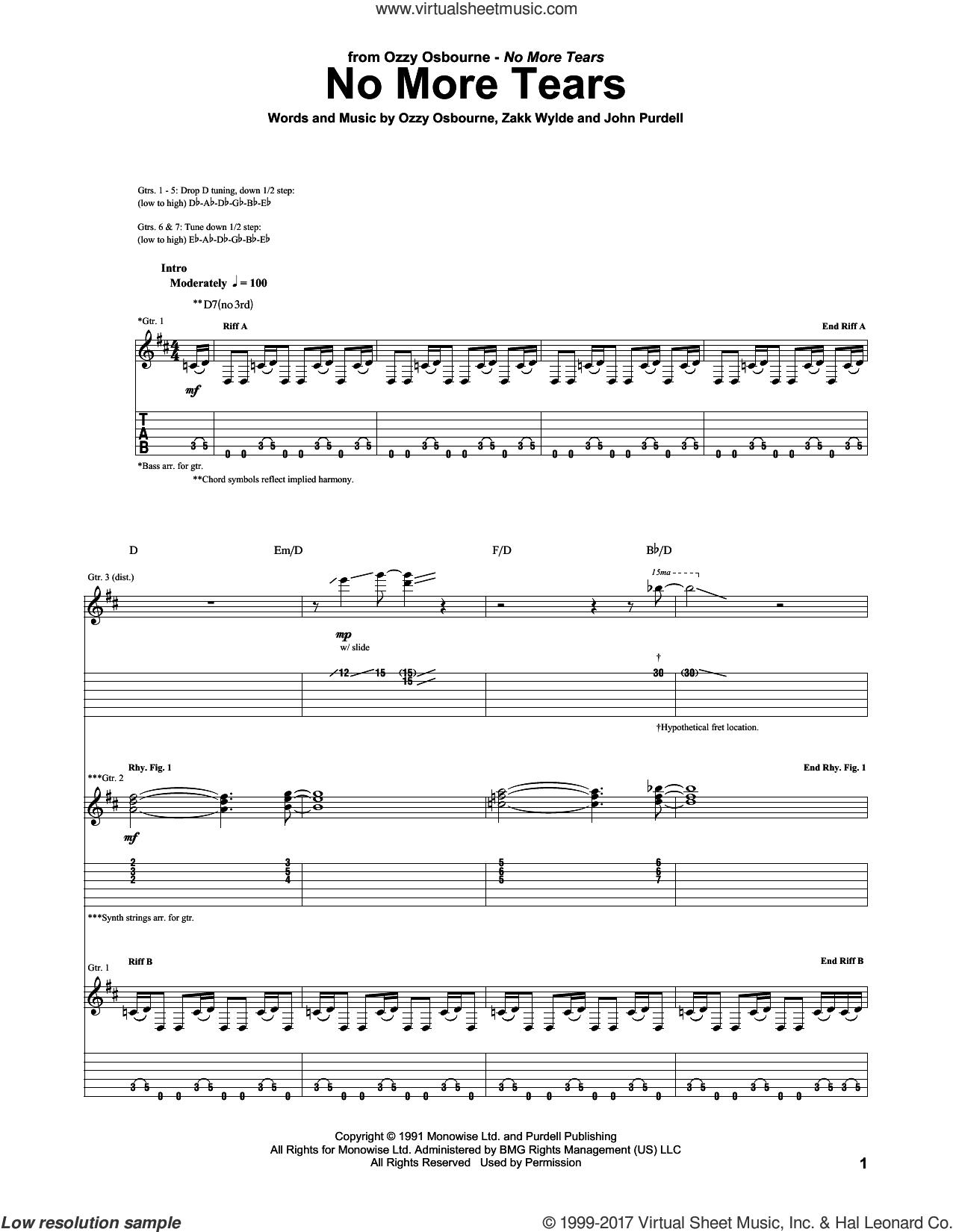 No More Tears sheet music for guitar (tablature) by Ozzy Osbourne, John Purdell and Zakk Wylde, intermediate skill level