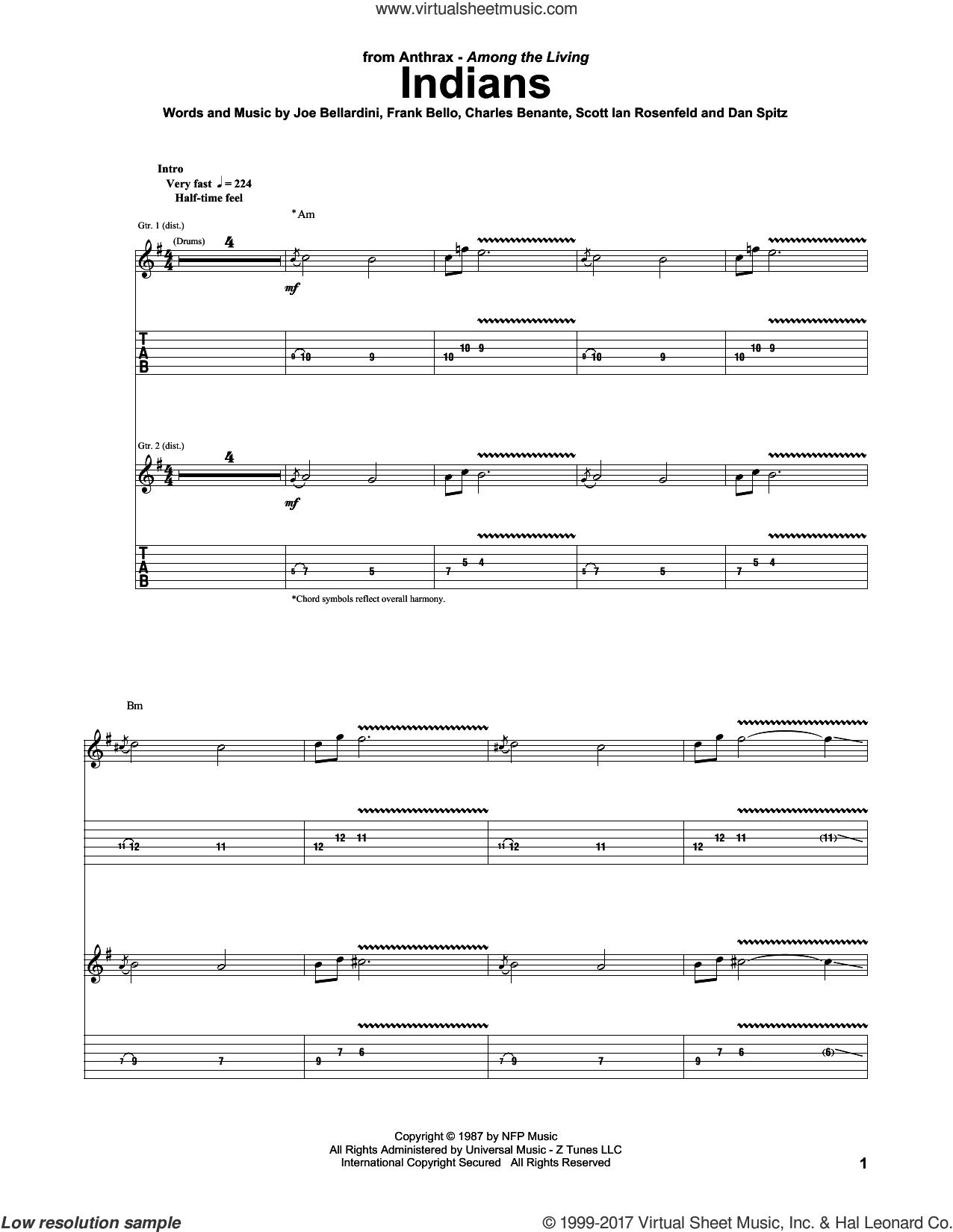 Indians sheet music for guitar (tablature) by Anthrax, Charles Benante, Dan Spitz, Frank Bello, Joe Bellardini and Scott Rosenfeld, intermediate skill level