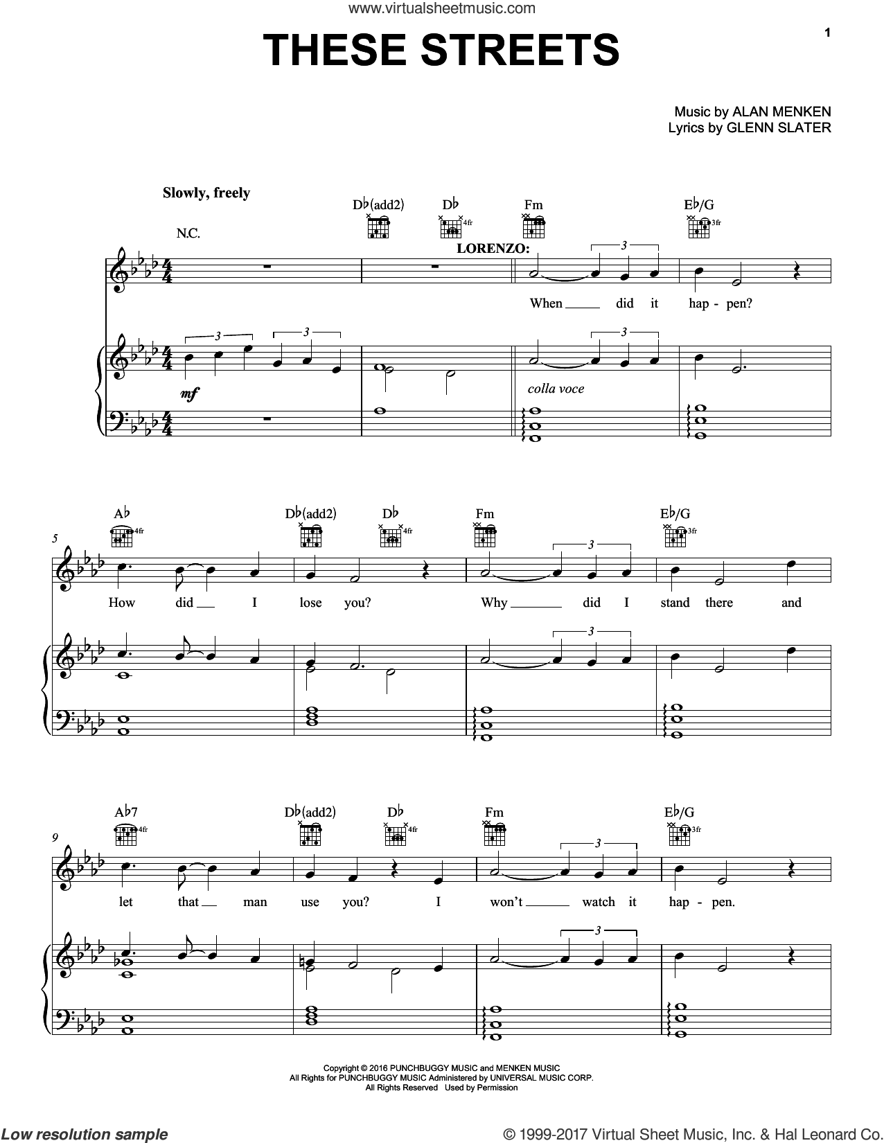 These Streets sheet music for voice, piano or guitar by Alan Menken and Glenn Slater, intermediate skill level