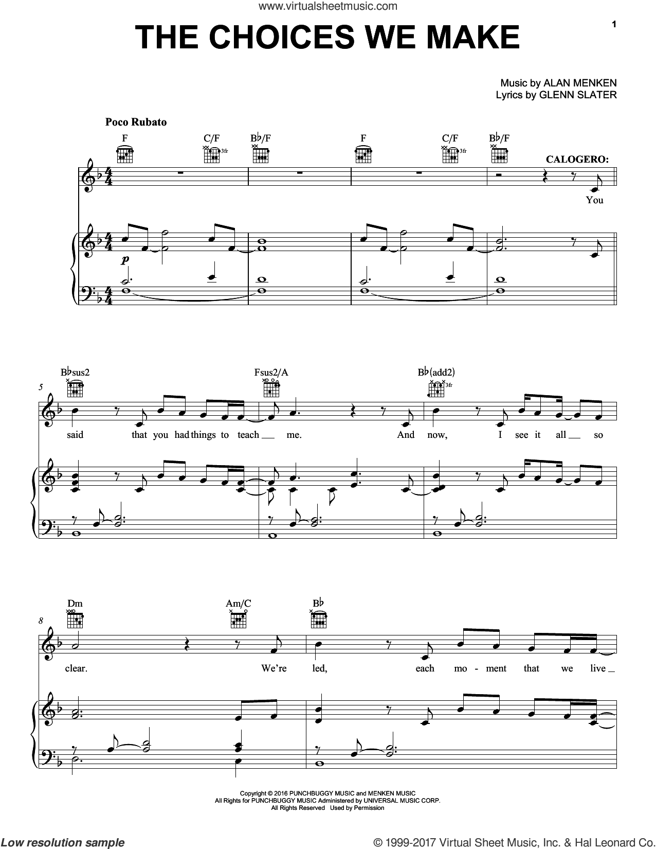 The Choices We Make sheet music for voice, piano or guitar by Alan Menken and Glenn Slater, intermediate skill level