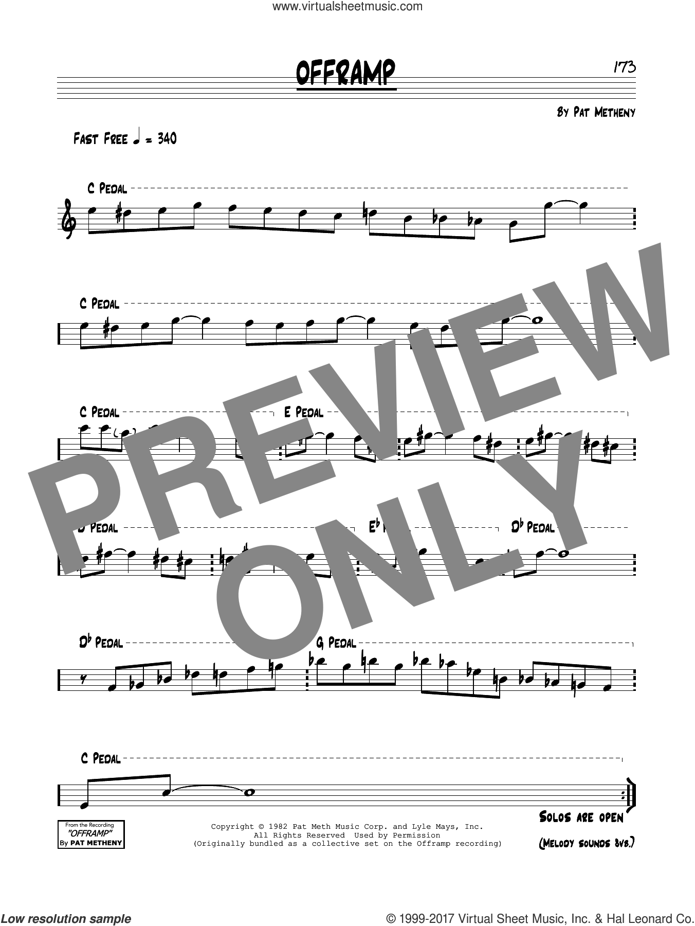 Offramp sheet music for voice and other instruments (real book) by Pat Metheny and Lyle Mays, intermediate skill level