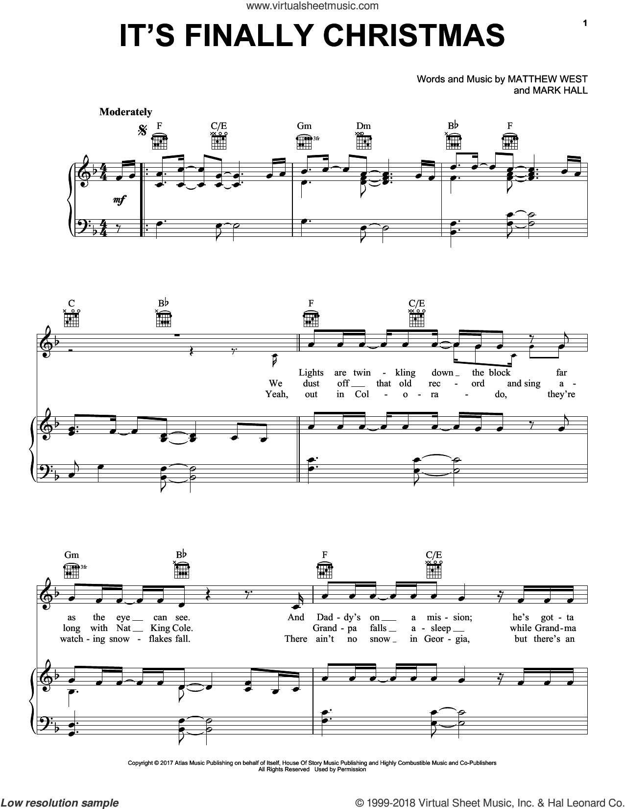 It's Finally Christmas sheet music for voice, piano or guitar by Casting Crowns, Mark Hall and Matthew West, intermediate skill level