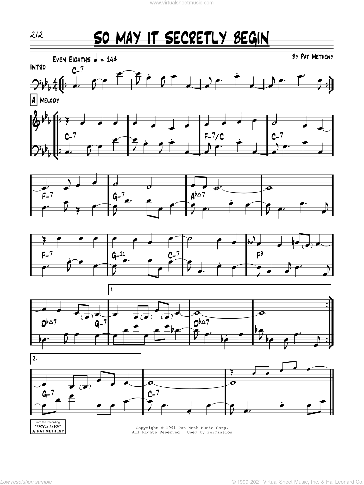 So May It Secretly Begin sheet music for voice and other instruments (real book) by Pat Metheny, intermediate skill level