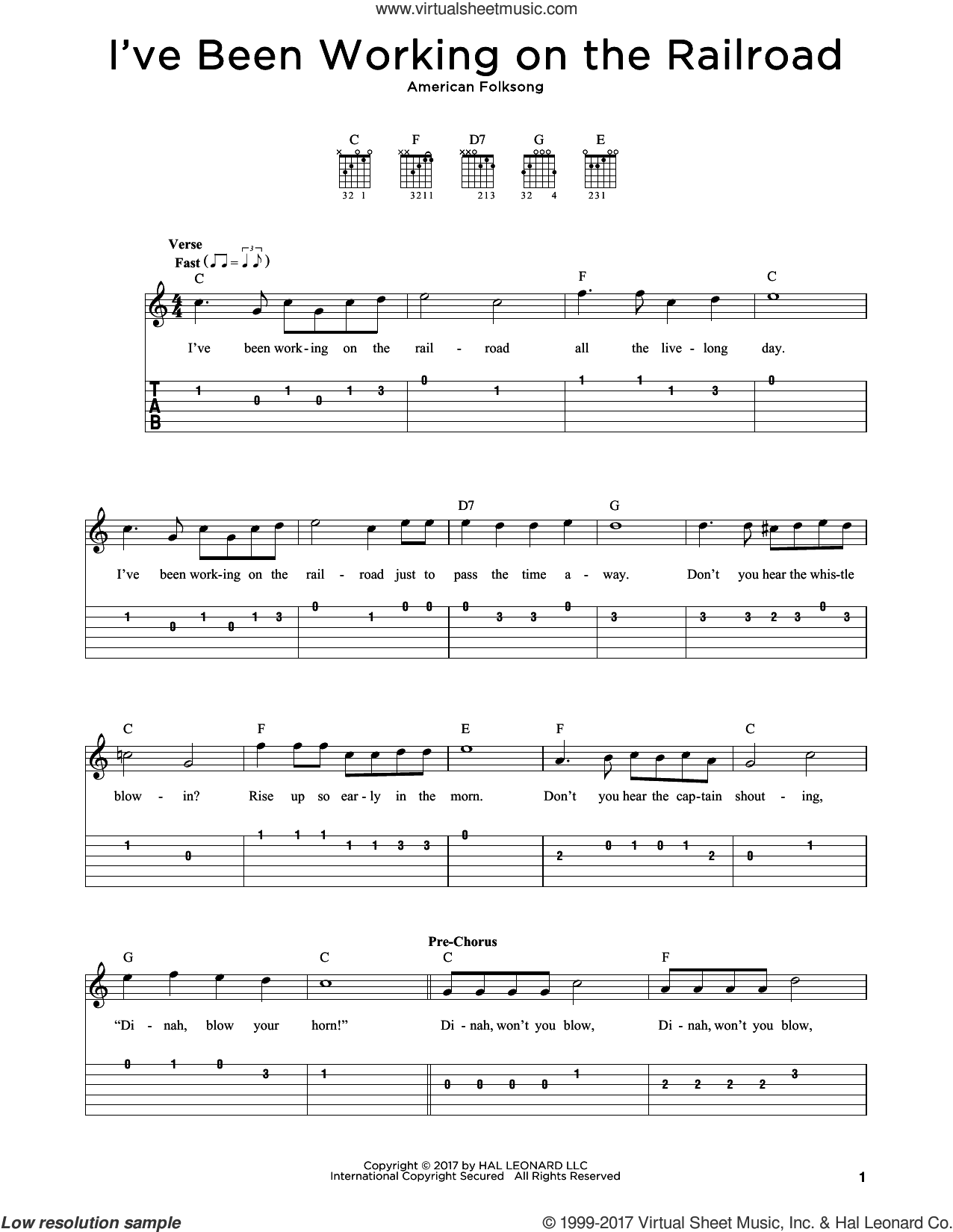 I've Been Working On The Railroad sheet music for guitar solo by American Folksong, intermediate skill level
