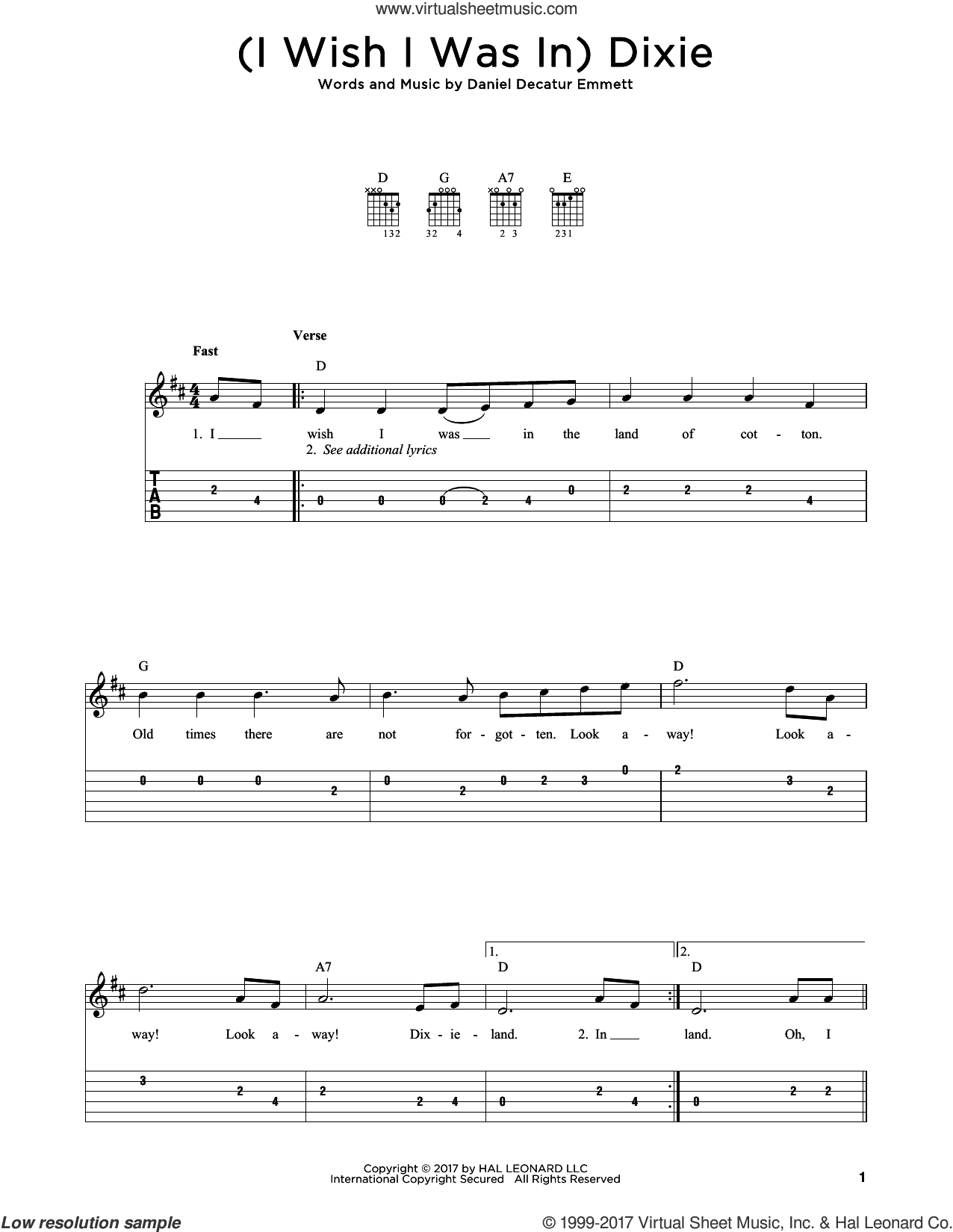 (I Wish I Was In) Dixie sheet music for guitar solo by Daniel Decatur Emmett, intermediate. Score Image Preview.