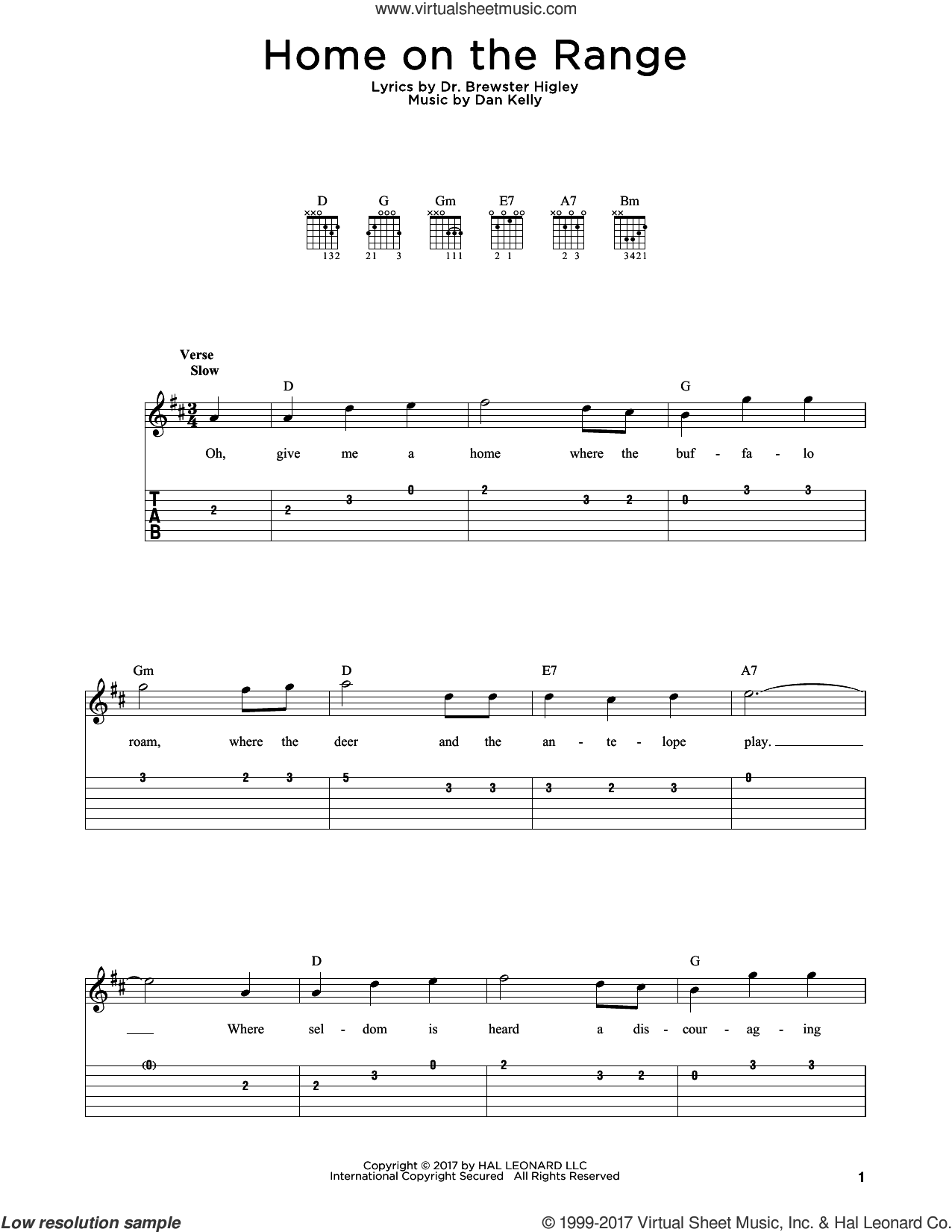 Home On The Range sheet music for guitar solo by Dan Kelly and Dr. Brewster Higley, intermediate skill level