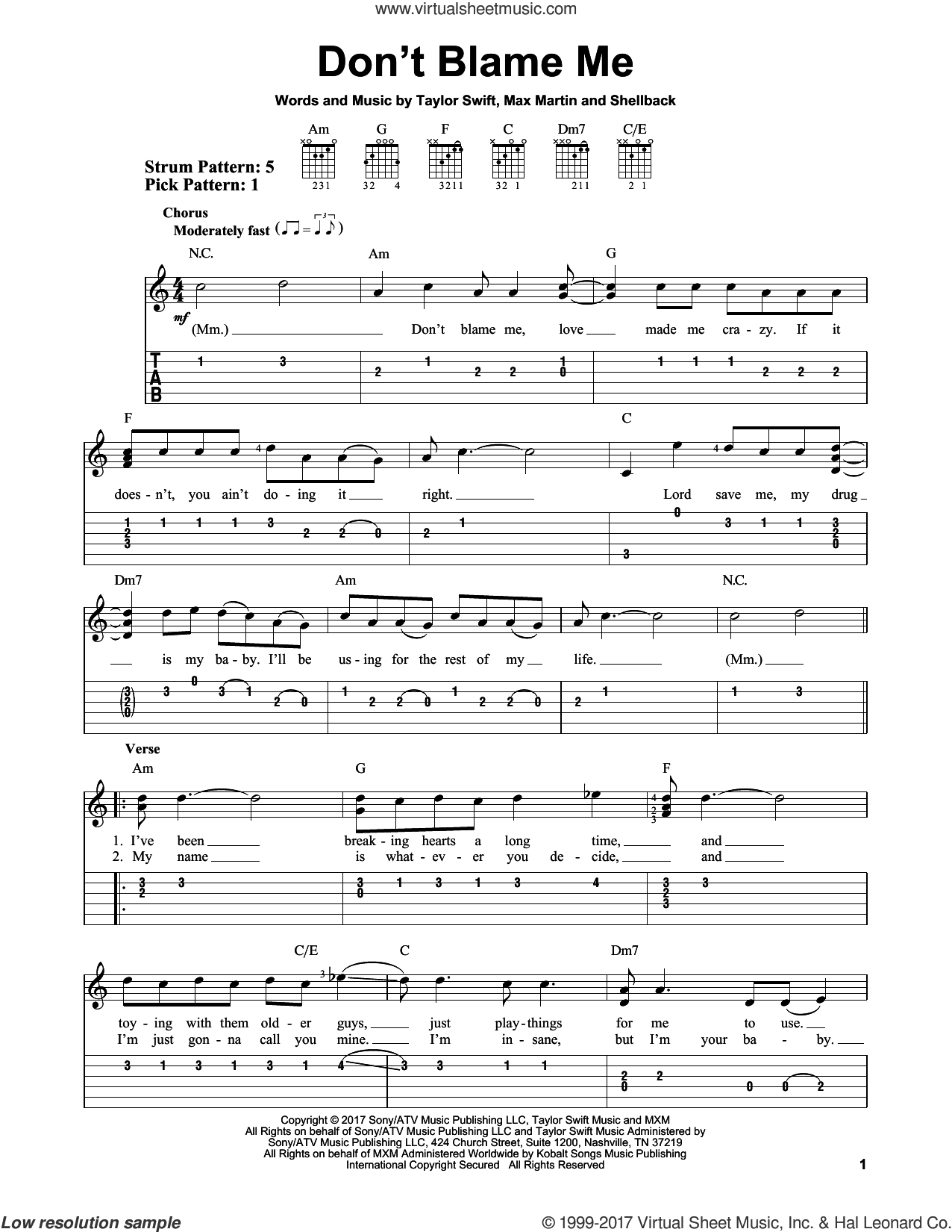 Don't Blame Me sheet music for guitar solo (easy tablature) by Taylor Swift, Max Martin and Shellback, easy guitar (easy tablature)