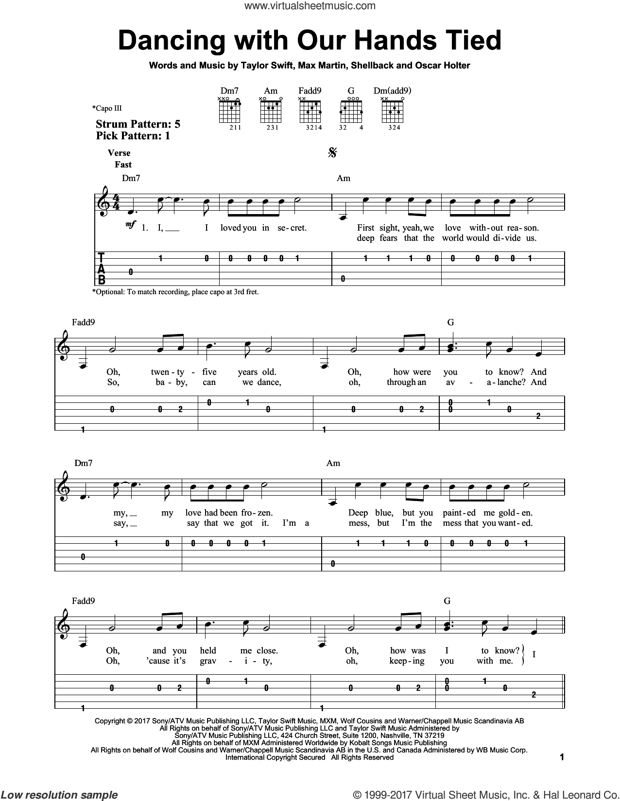 Dancing With Our Hands Tied sheet music for guitar solo (easy tablature) by Taylor Swift, Max Martin, Oscar Holter and Shellback, easy guitar (easy tablature)