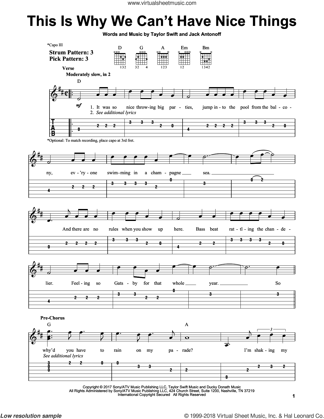 This Is Why We Can't Have Nice Things sheet music for guitar solo (easy tablature) by Taylor Swift and Jack Antonoff, easy guitar (easy tablature)