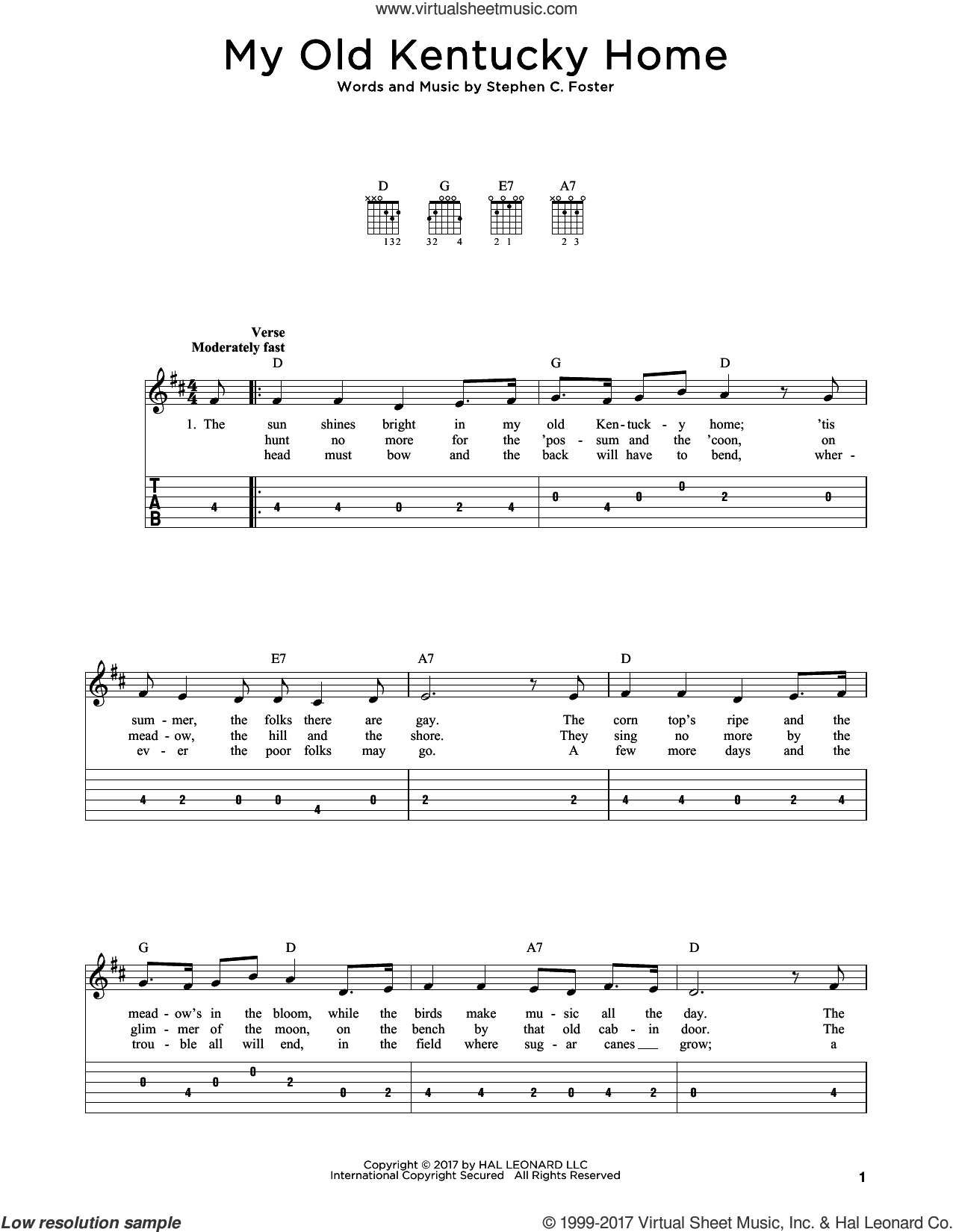 My Old Kentucky Home sheet music for guitar solo by Stephen Foster, intermediate skill level