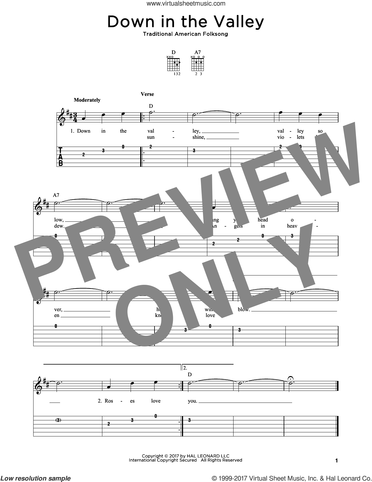 Down In The Valley sheet music for guitar solo, intermediate skill level