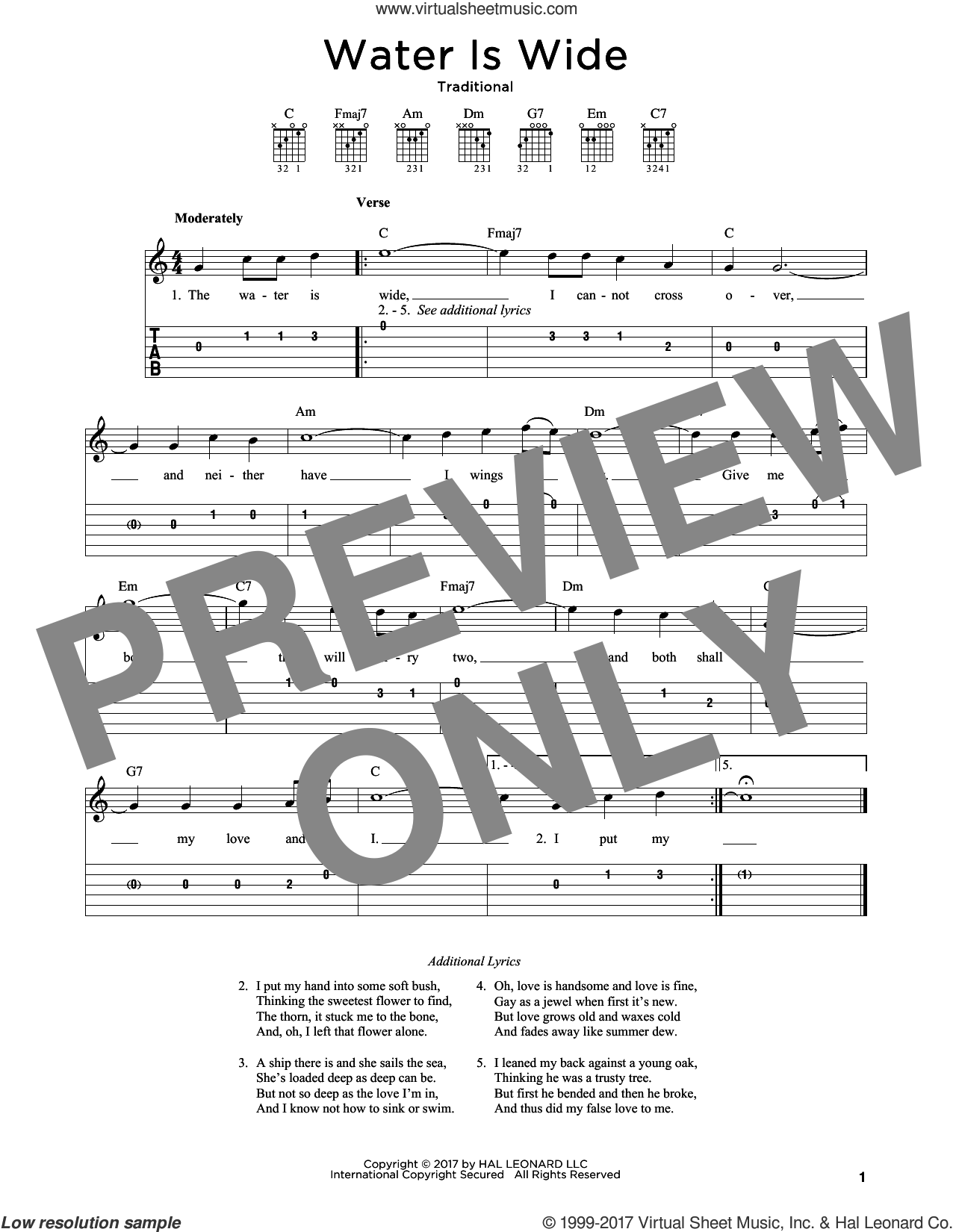 Water Is Wide sheet music for guitar solo, intermediate skill level