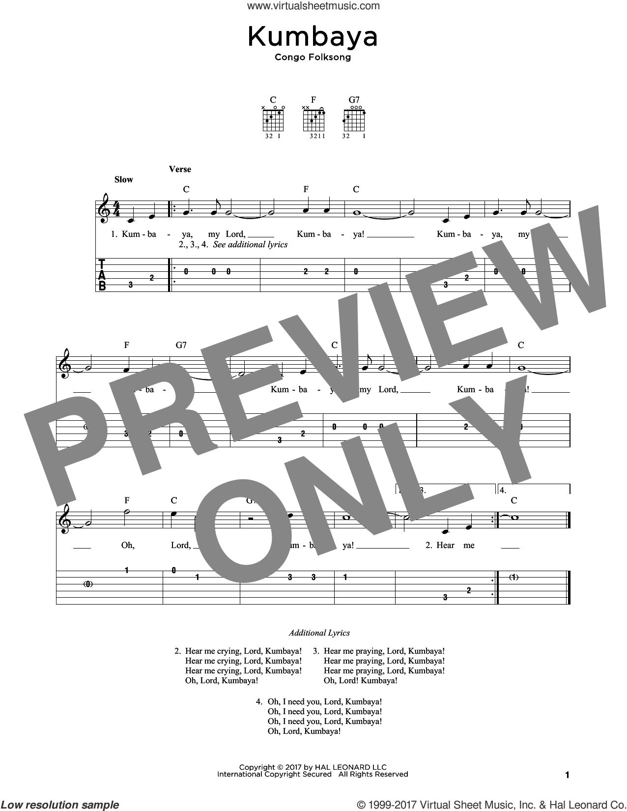 Kumbaya sheet music for guitar solo by Congo Folksong, intermediate skill level