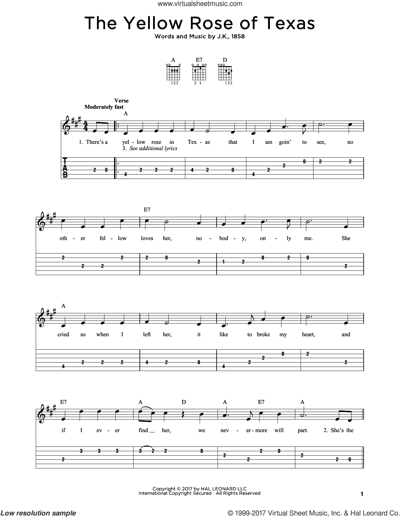 The Yellow Rose Of Texas sheet music for guitar solo by J.K., 1858, intermediate skill level