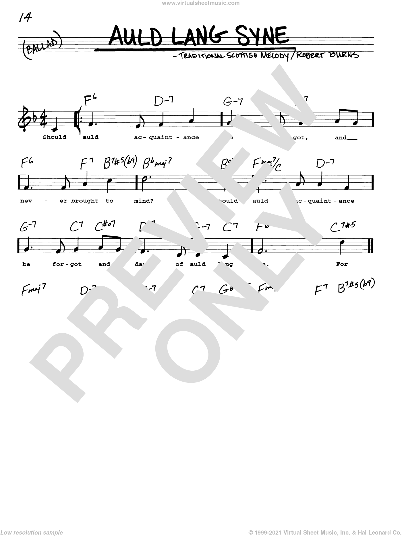 Auld Lang Syne sheet music for voice and other instruments (real book with lyrics) by Traditional Scottish Melody and Robert Burns, intermediate skill level