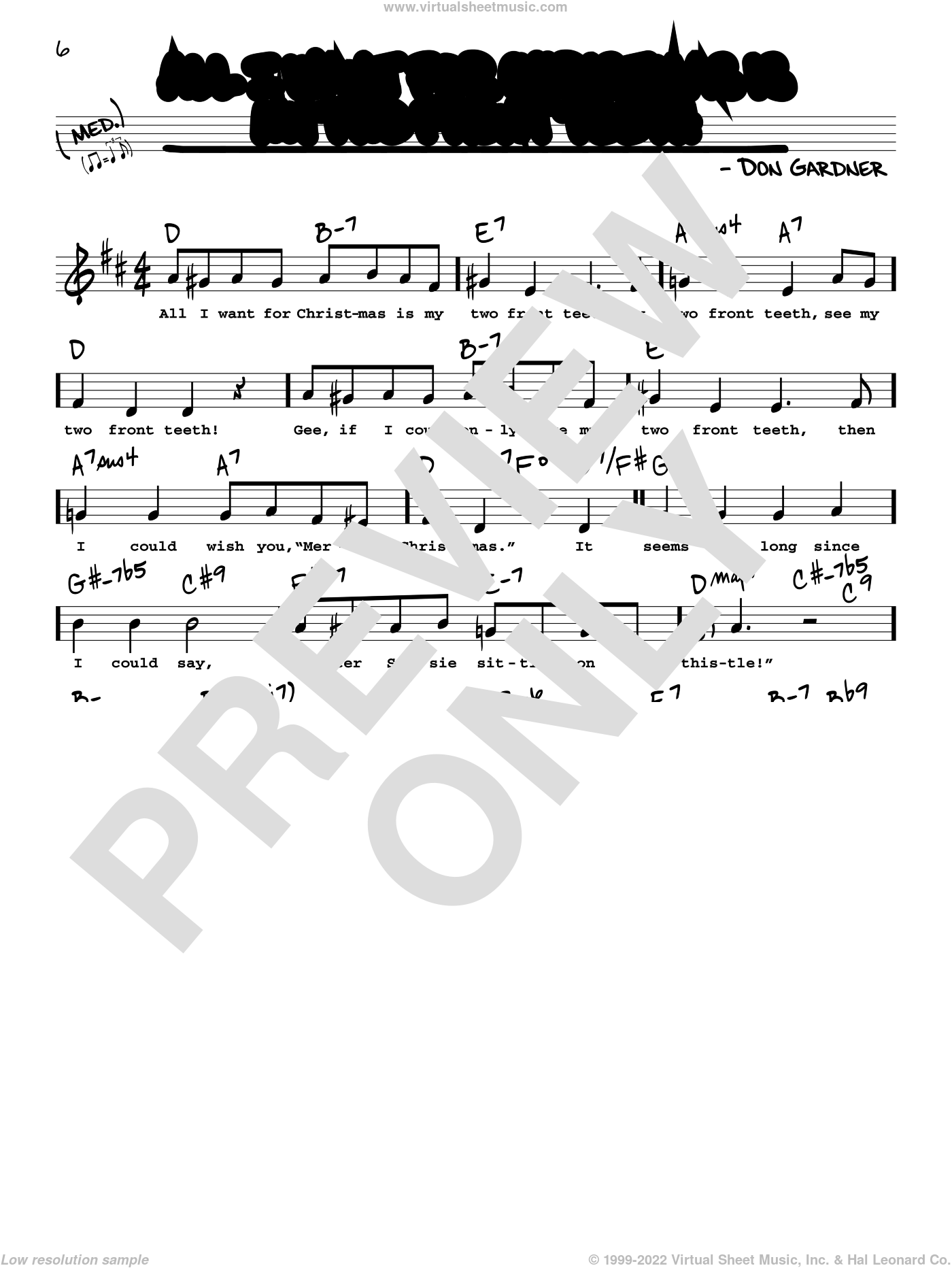 All I Want For Christmas Is My Two Front Teeth sheet music for voice and other instruments (real book with lyrics) by Don Gardner and Spike Jones & The City Slickers, intermediate skill level