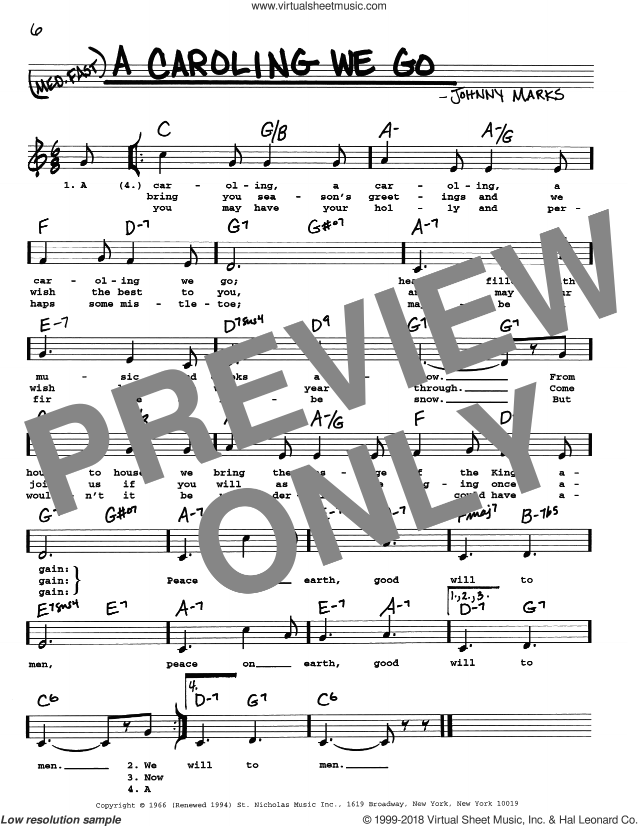 A Caroling We Go sheet music for voice and other instruments (real book with lyrics) by Johnny Marks, intermediate skill level
