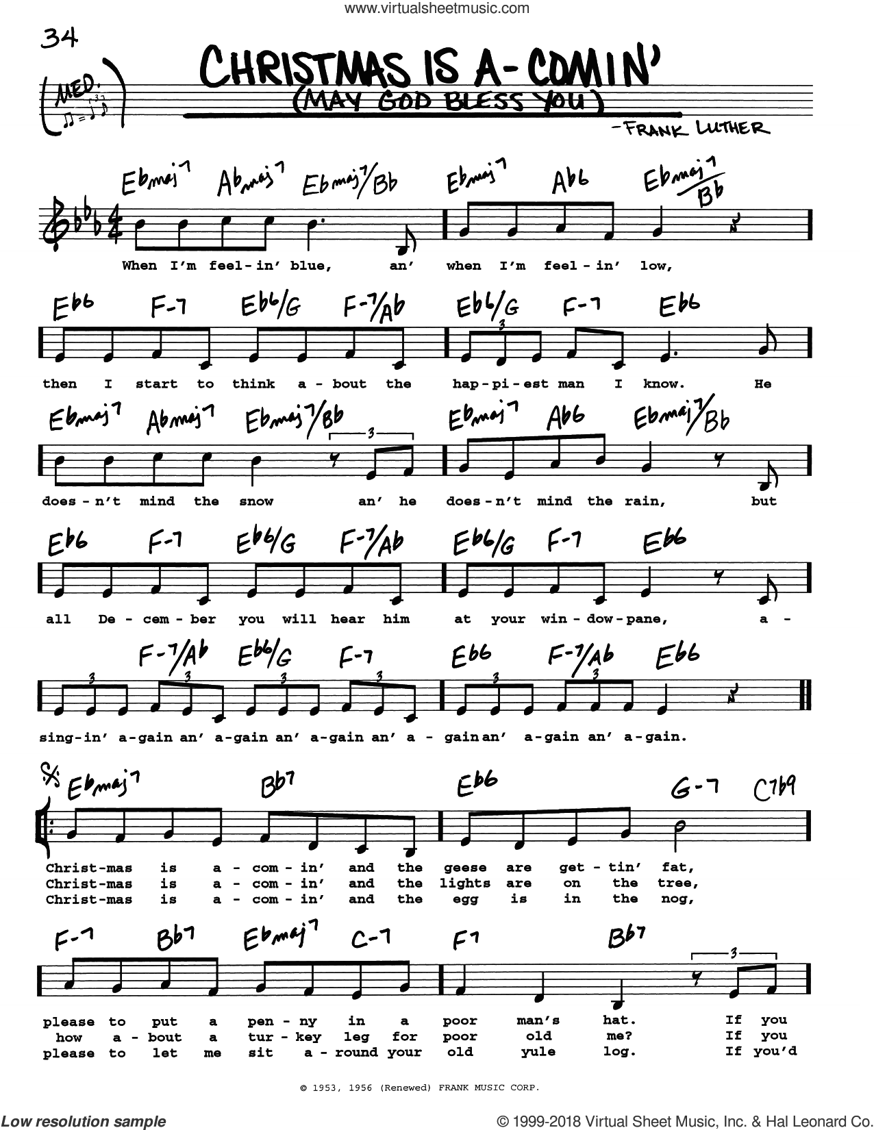 Christmas Is A-Comin' (May God Bless You) sheet music for voice and other instruments (real book with lyrics) by Frank Luther, intermediate skill level