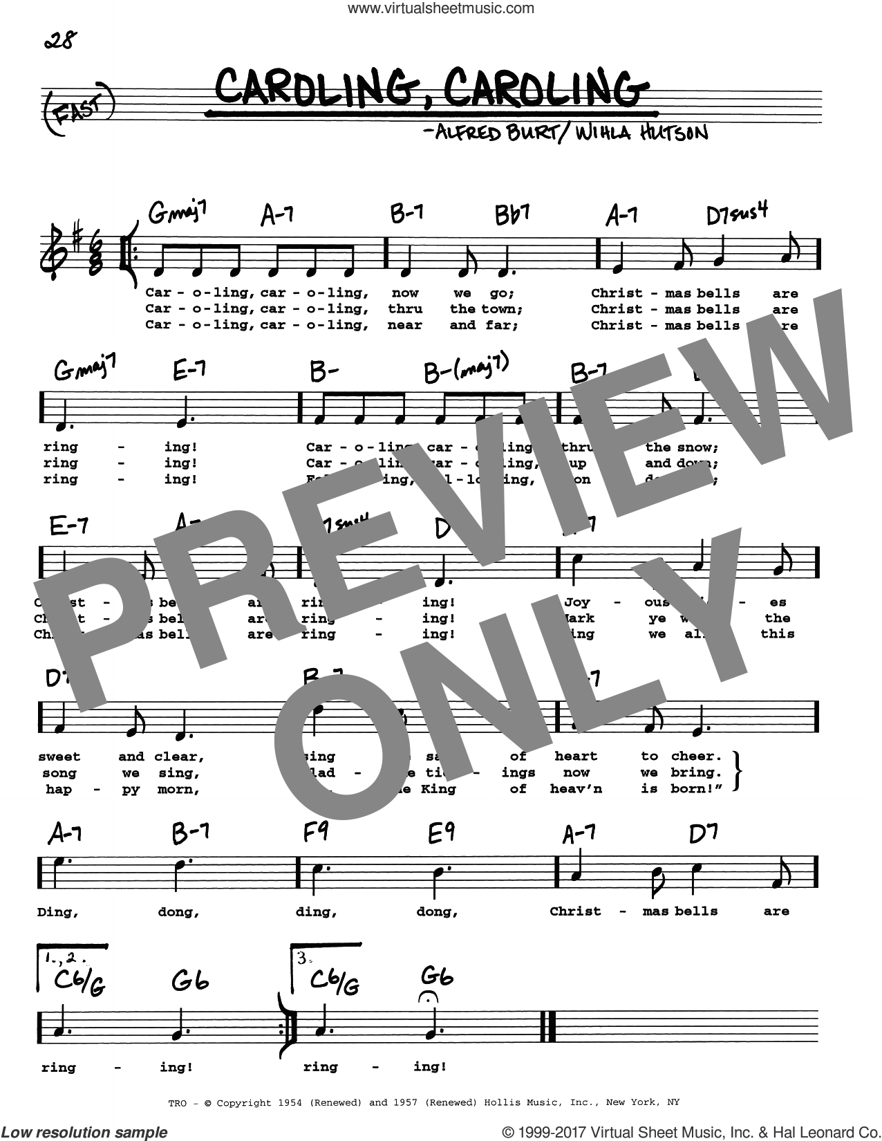 Caroling, Caroling sheet music for voice and other instruments (real book with lyrics) by Alfred Burt and Wihla Hutson, intermediate skill level