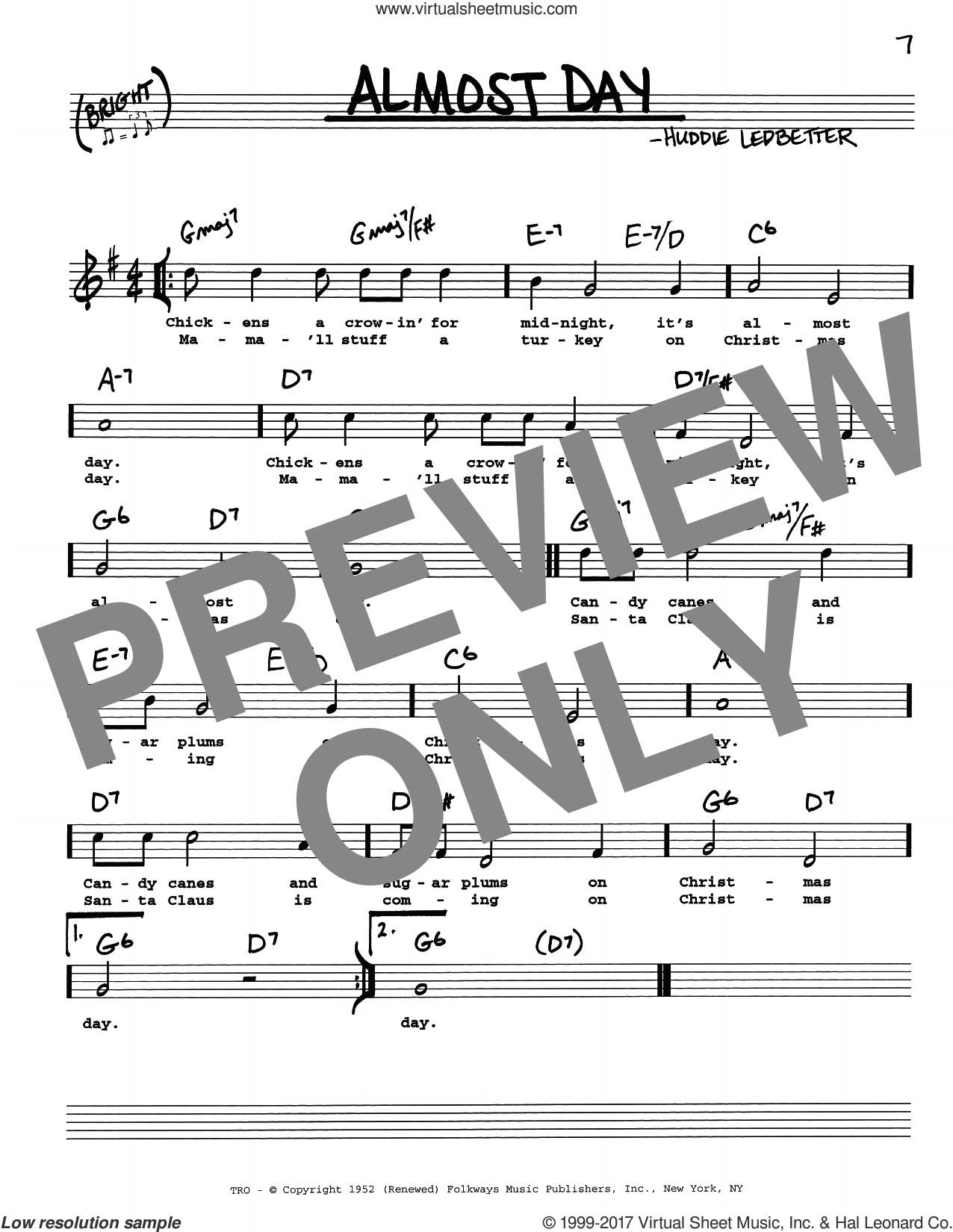 Almost Day sheet music for voice and other instruments (real book with lyrics) by Huddie Ledbetter, intermediate skill level