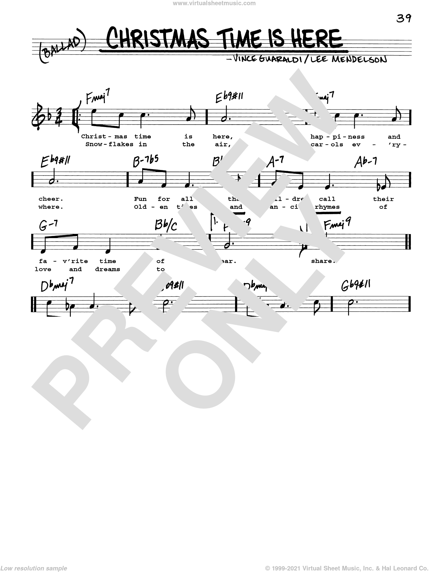 Christmas Time Is Here sheet music for voice and other instruments (real book with lyrics) by Vince Guaraldi and Lee Mendelson, intermediate skill level