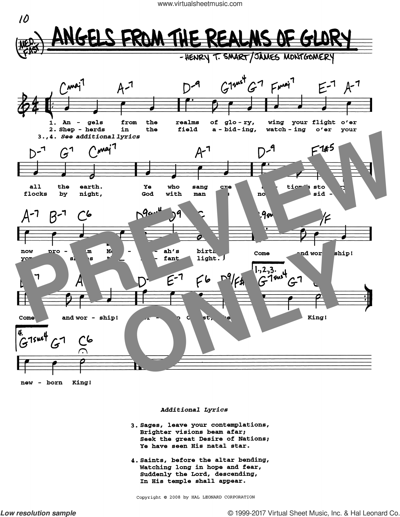 Angels From The Realms Of Glory sheet music for voice and other instruments (real book with lyrics) by James Montgomery and Henry T. Smart, intermediate skill level