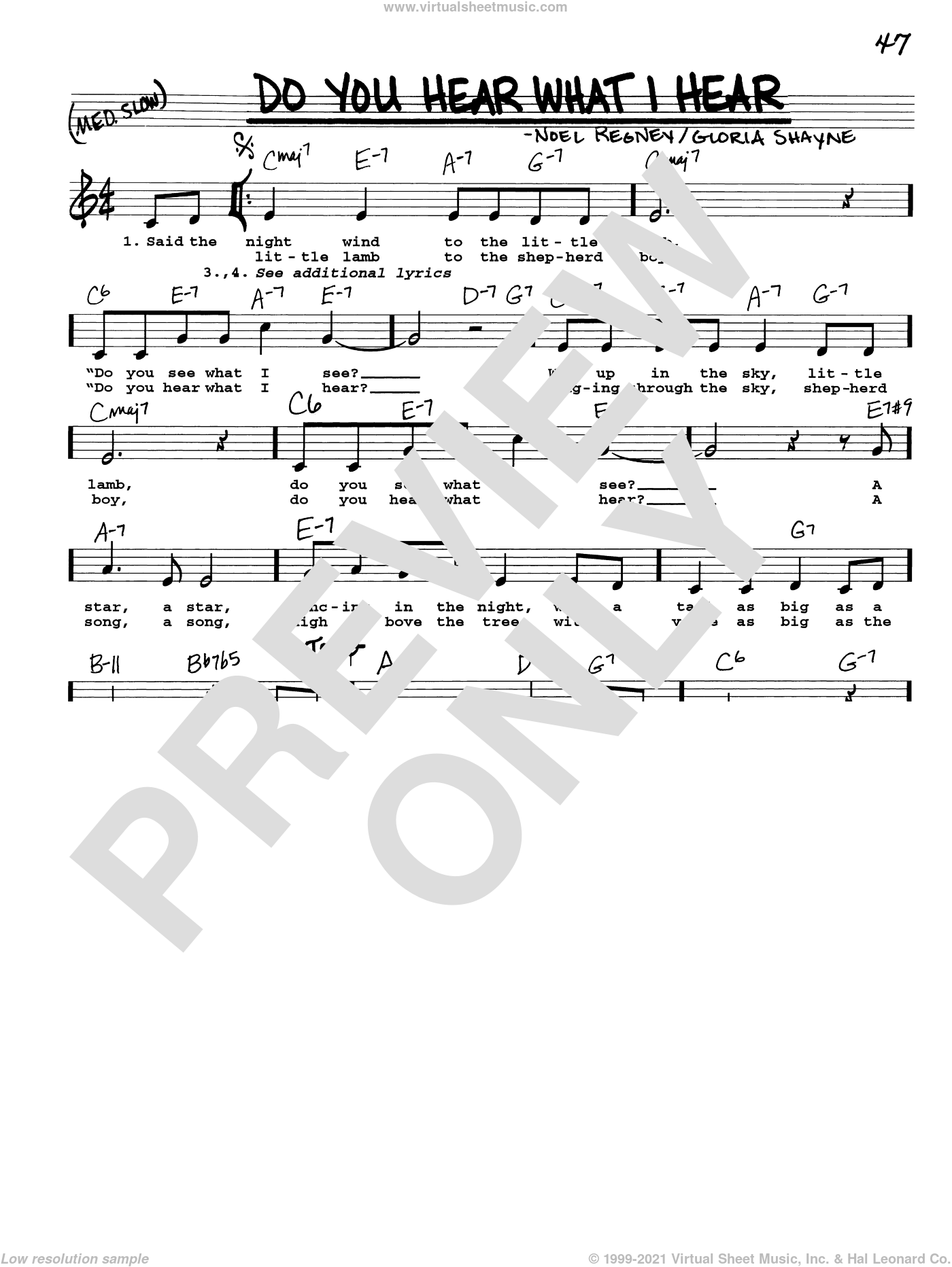 Do You Hear What I Hear sheet music for voice and other instruments (real book with lyrics) by Gloria Shayne and Noel Regney, intermediate skill level