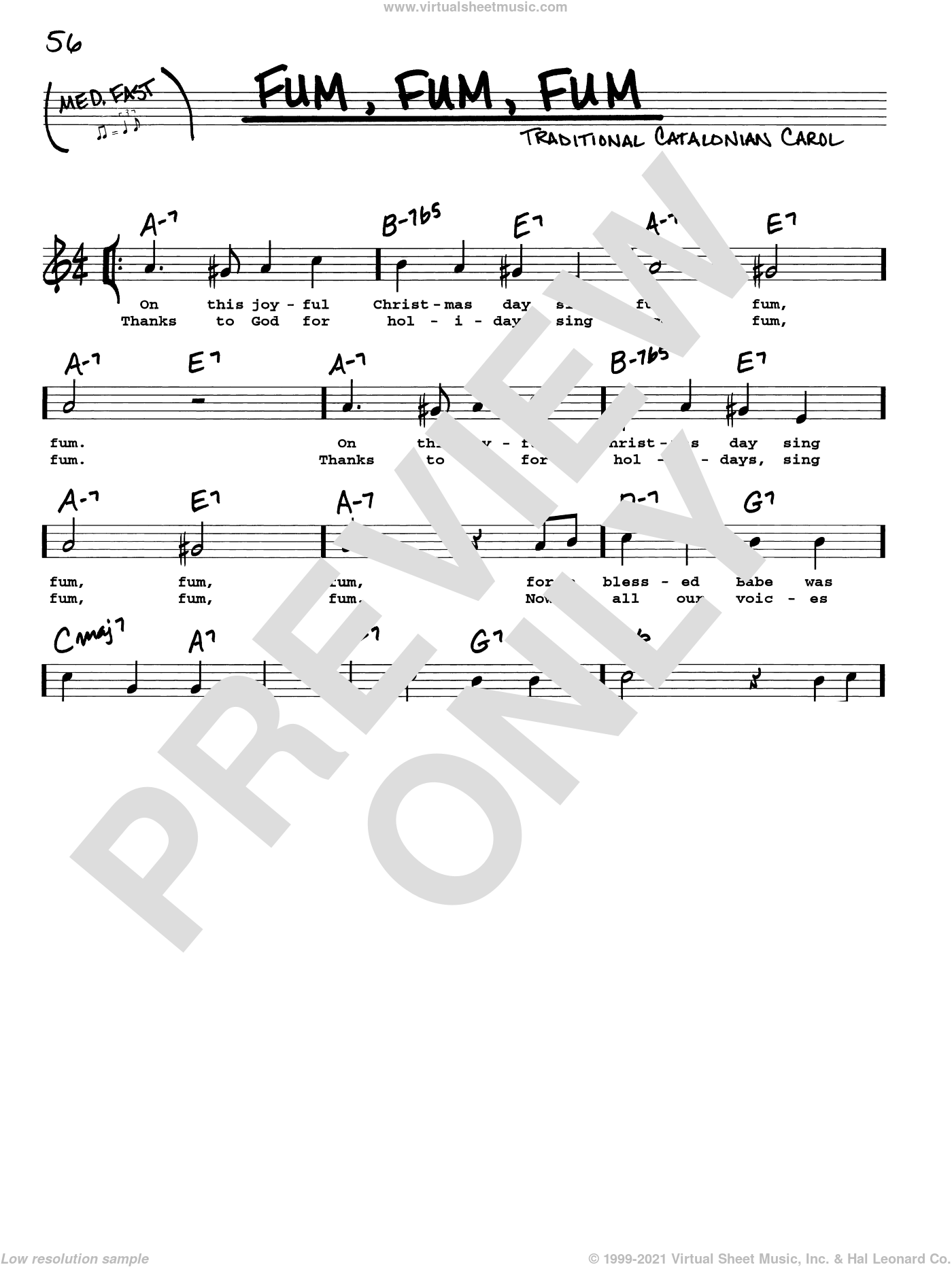 Fum, Fum, Fum sheet music for voice and other instruments (real book with lyrics), intermediate skill level