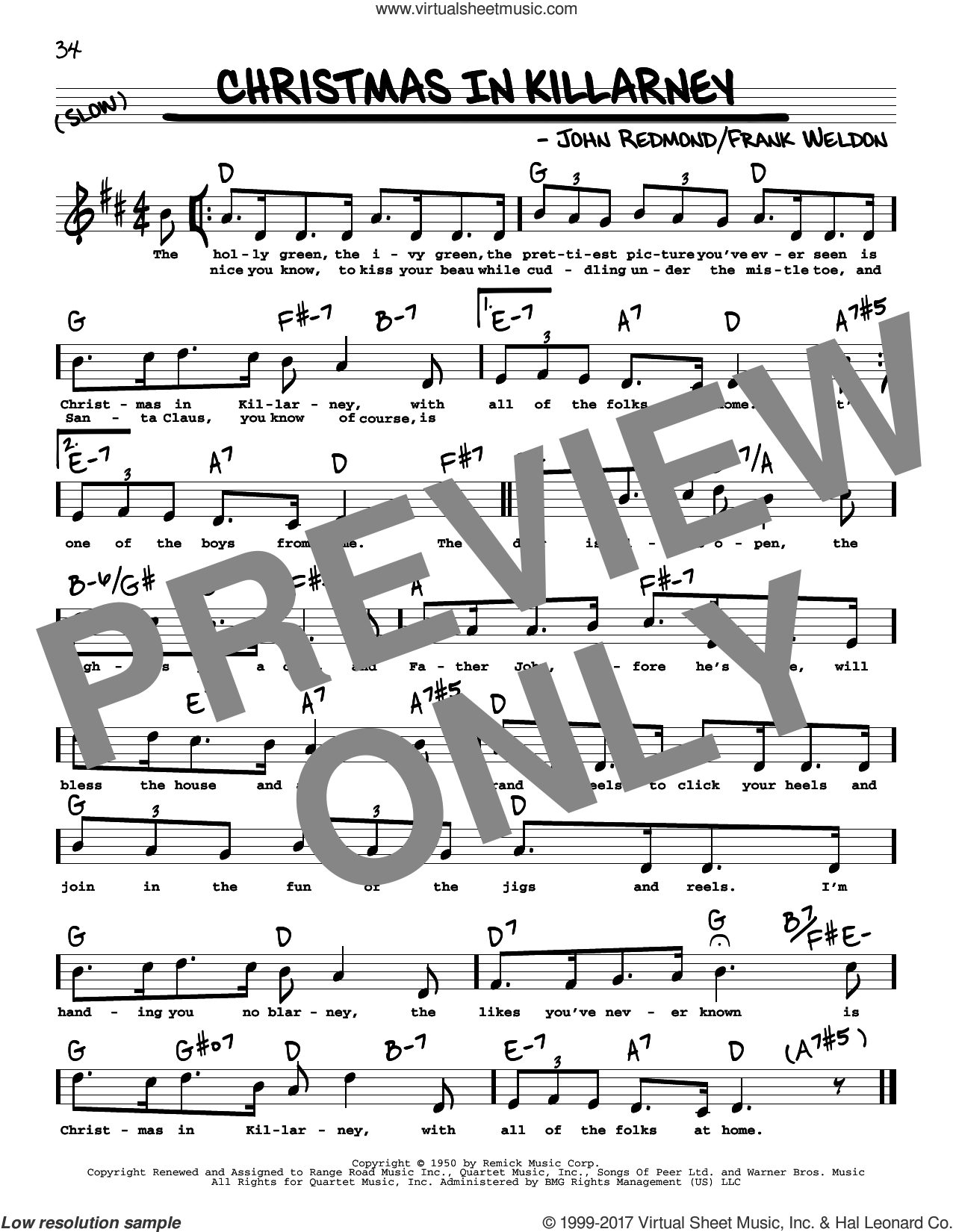 Christmas In Killarney sheet music for voice and other instruments (real book with lyrics) by John Redmond and Frank Weldon, intermediate skill level