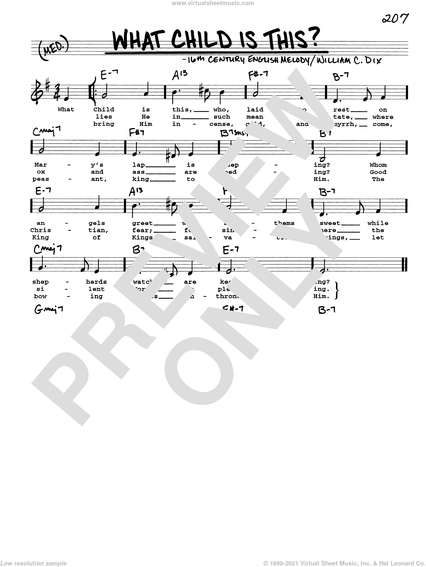 What Child Is This? sheet music for voice and other instruments (real book with lyrics) by William Chatterton Dix and Miscellaneous, intermediate skill level