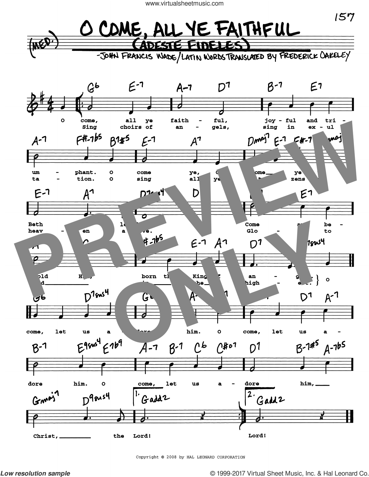O Come, All Ye Faithful sheet music for voice and other instruments (real book with lyrics) by John Francis Wade and Frederick Oakeley (English), intermediate skill level