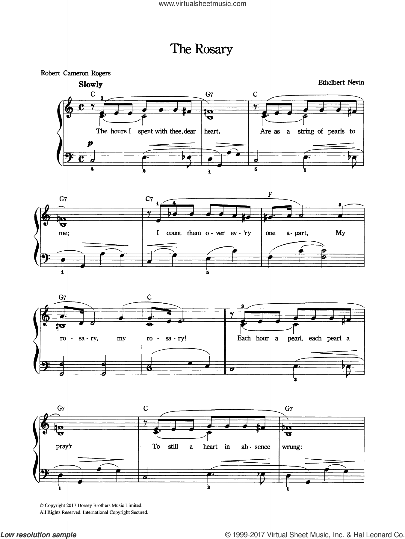 The Rosary sheet music for voice and piano by Ethelbert Nevin, intermediate skill level