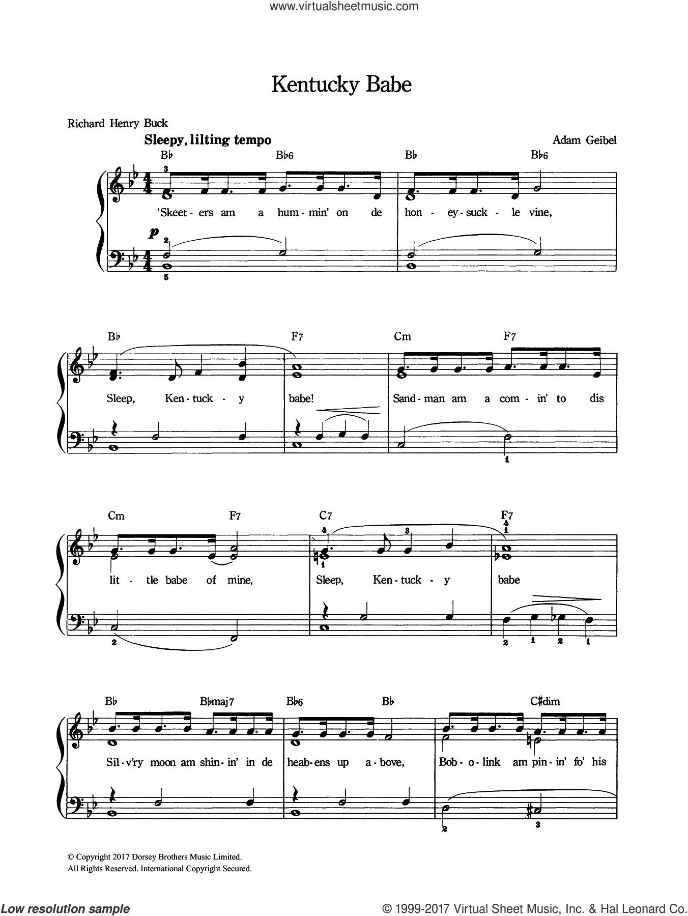 Kentucky Babe sheet music for voice and piano by Adam Geibel, intermediate skill level