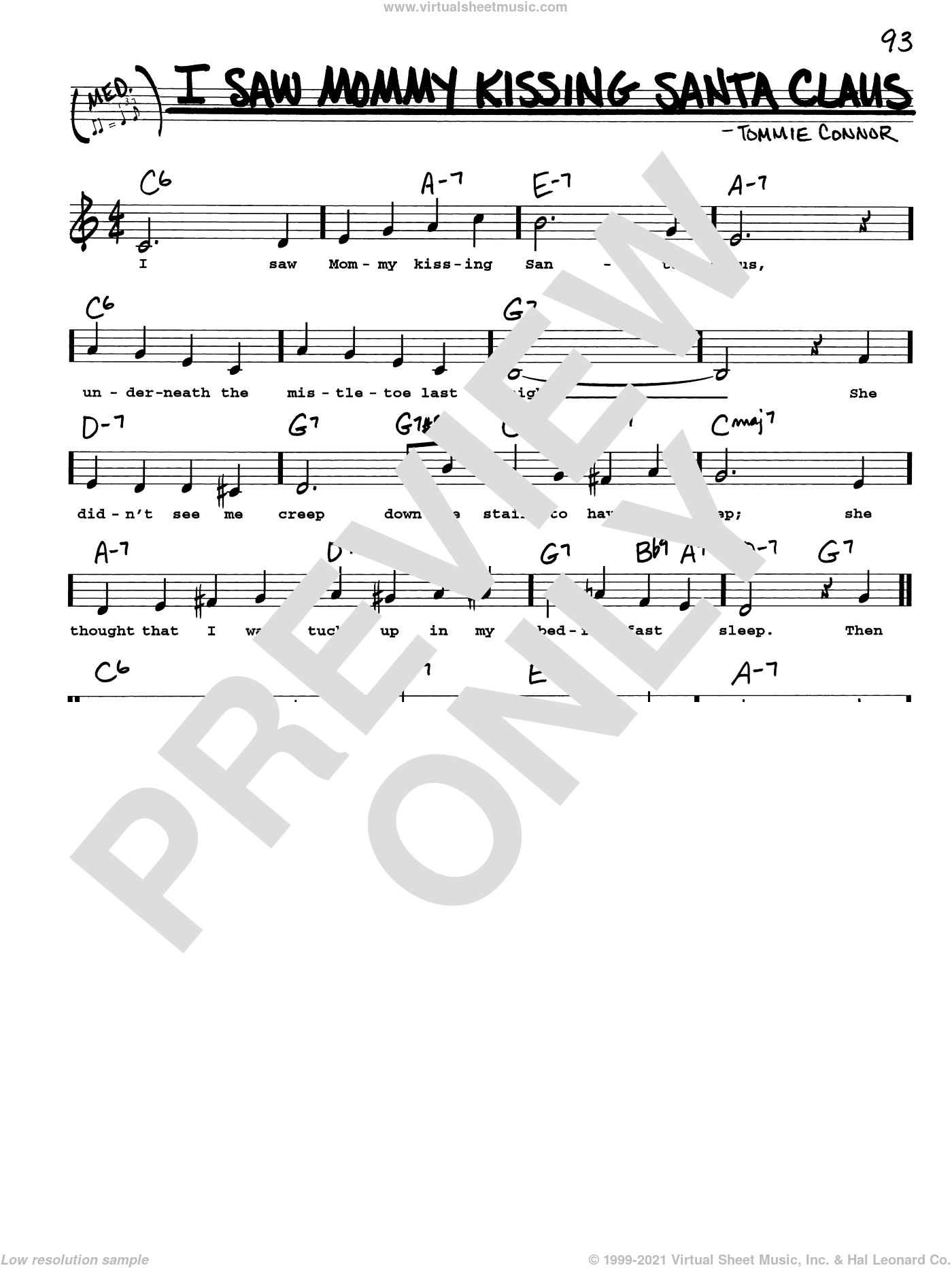 I Saw Mommy Kissing Santa Claus sheet music for voice and other instruments (real book with lyrics) by Tommie Connor, intermediate skill level