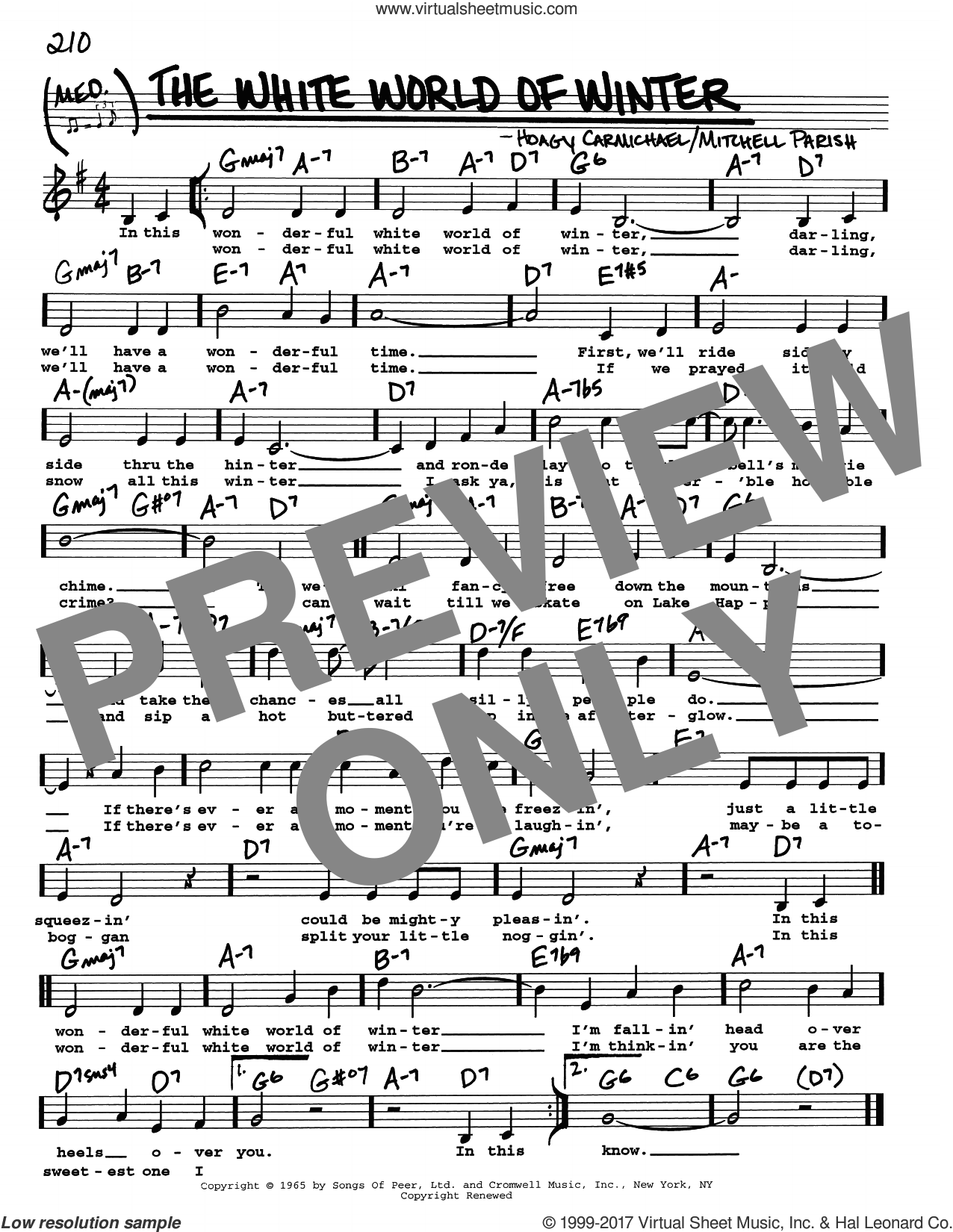 The White World Of Winter sheet music for voice and other instruments (real book with lyrics) by Hoagy Carmichael and Mitchell Parish, intermediate skill level
