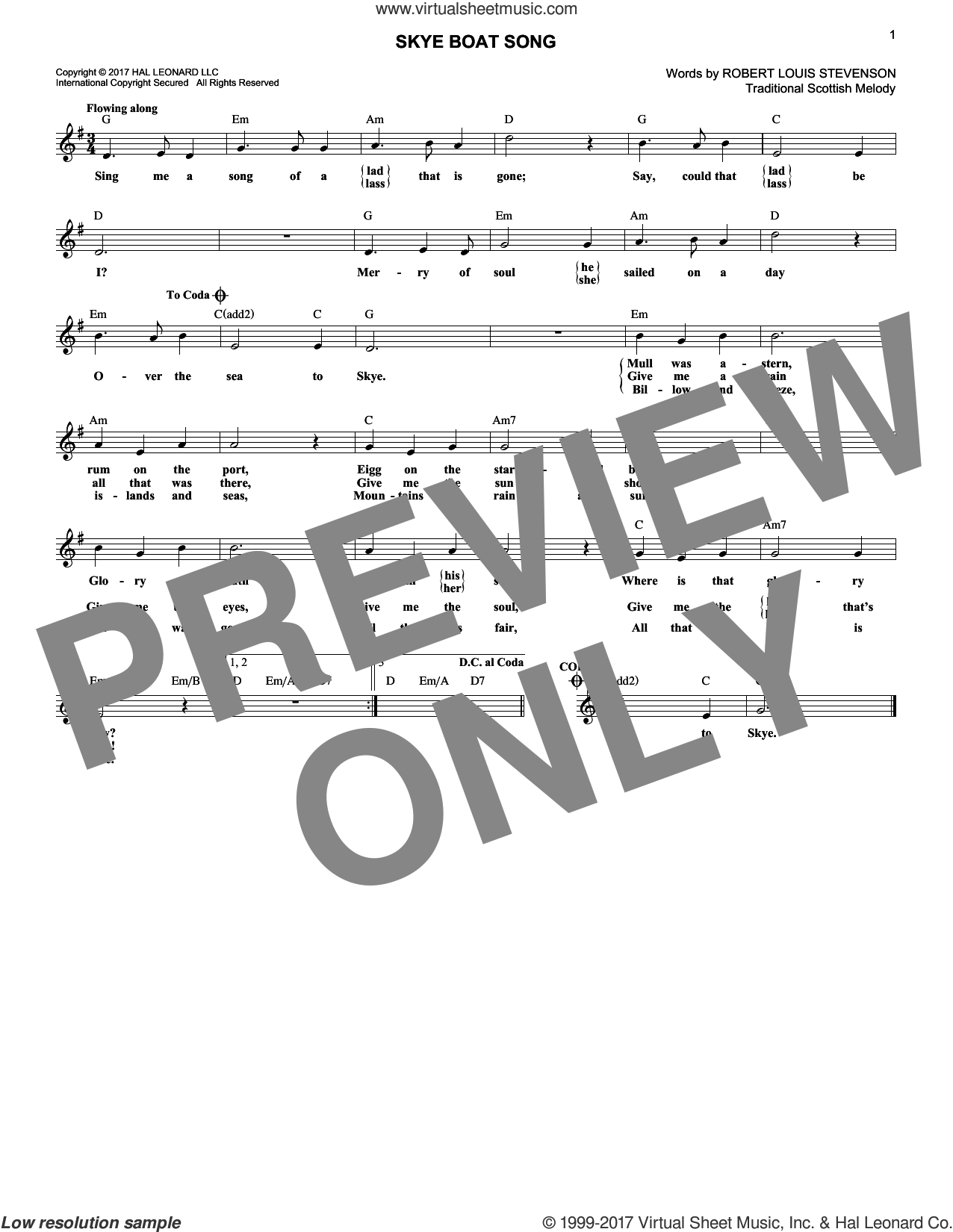Skye Boat Song sheet music for voice and other instruments (fake book) by Robert Louis Stevenson and Miscellaneous, intermediate. Score Image Preview.