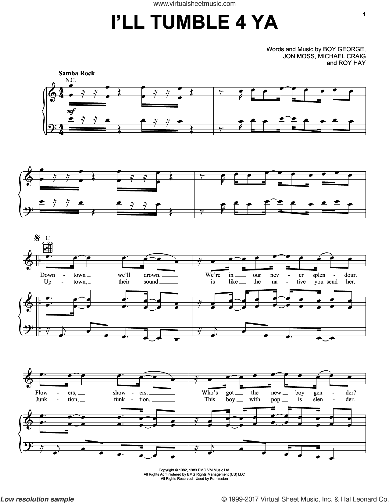 I'll Tumble 4 Ya sheet music for voice, piano or guitar by Culture Club, Boy George, Jon Moss, Michael Craig and Roy Hay, intermediate skill level